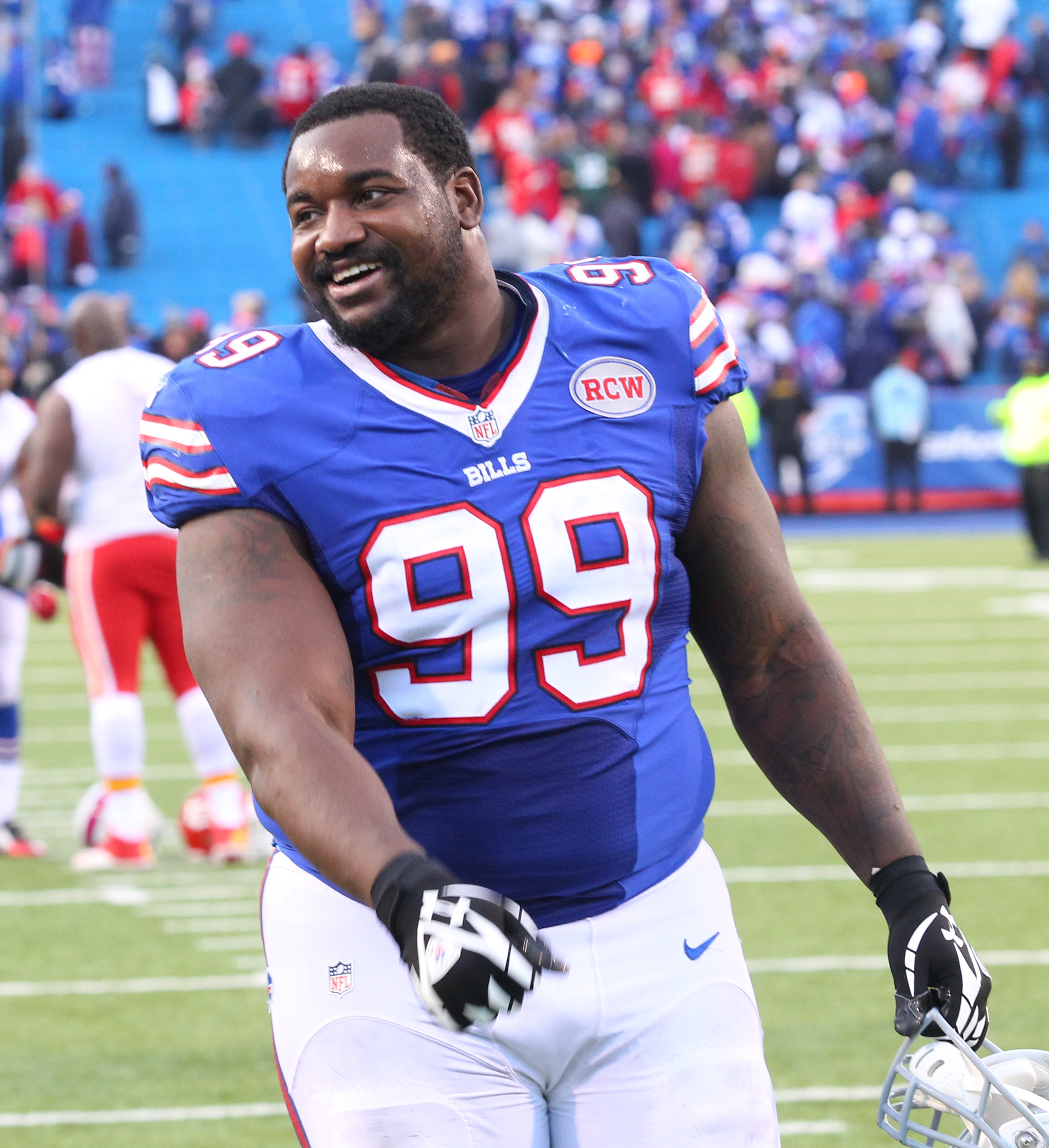 FILE - In this Nov. 9, 2014, file photo, Buffalo Bills defensive tackle Marcell Dareus (99) walks off the field after an NFL football game against the Kansas City Chiefs in Orchard Park, N.Y. Bills defensive tackle Marcell Dareus will miss the season open