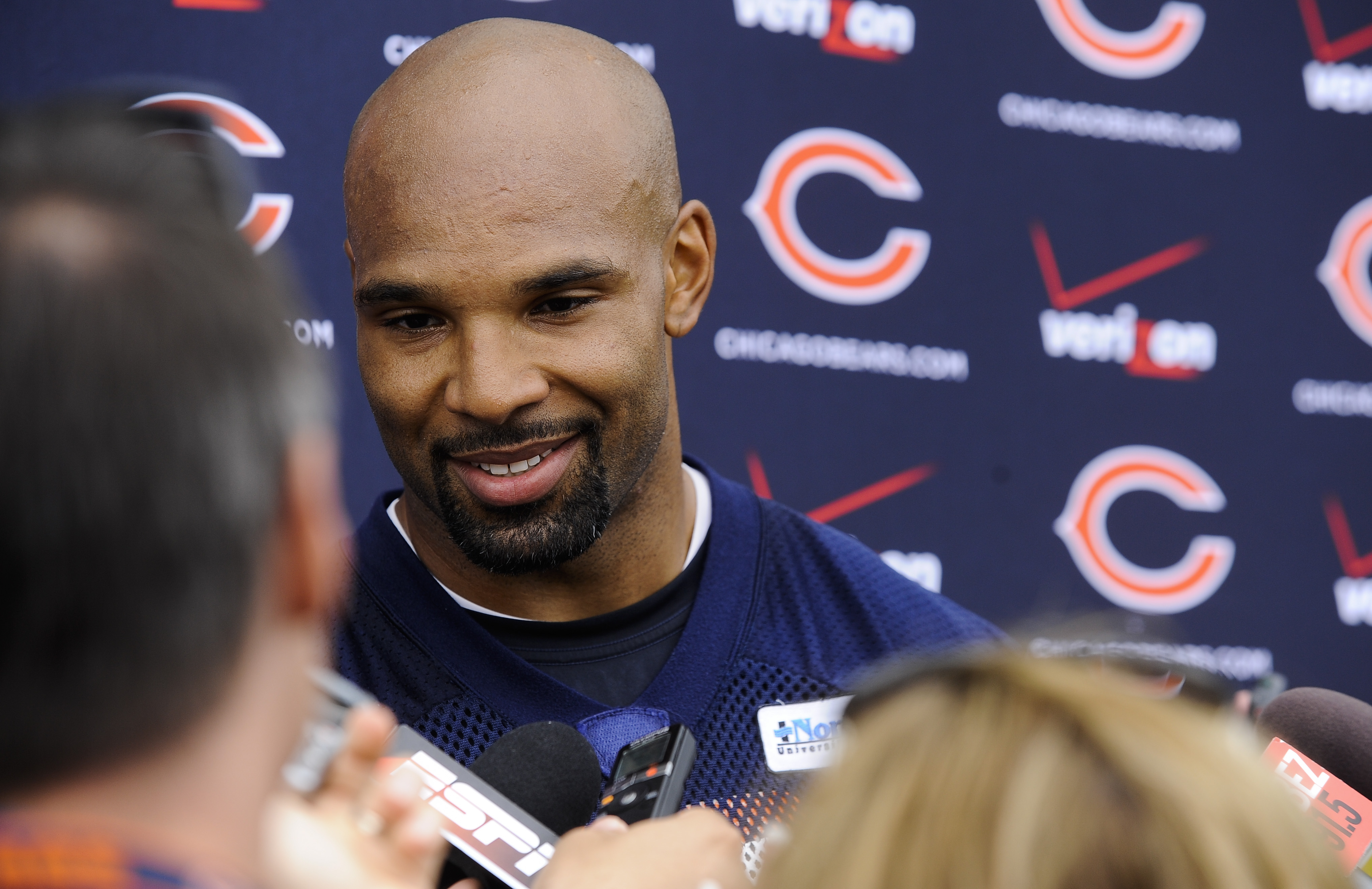 Chicago Bears running back Matt Forte speaks with the media after an NFL football organized team activity at Halas Hall, Wednesday May 27, 2015, in Lake Forest, Ill. (AP Photo/Matt Marton)