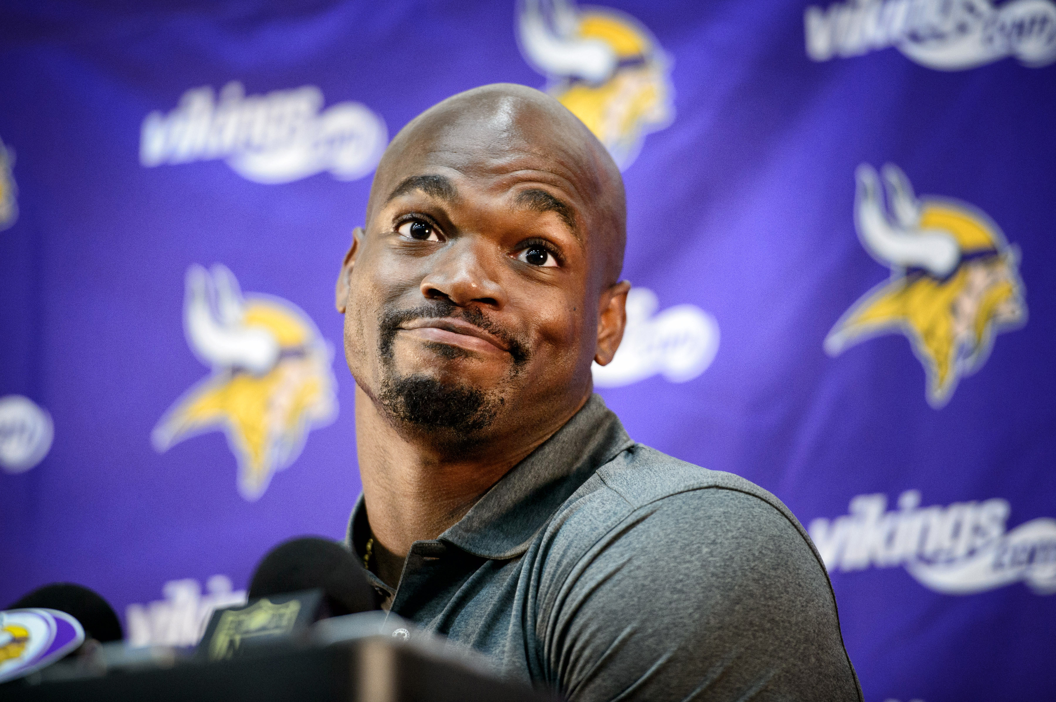 Vikings running back Adrian Peterson speaks at a news conference in Eden Prairie, Minn., Tuesday June 2, 2015.  Peterson practiced with the Vikings for the first time in nine months on Tuesday.   (GLEN STUBBE/Star Tribune via AP)  MANDATORY CREDIT; ST. PA