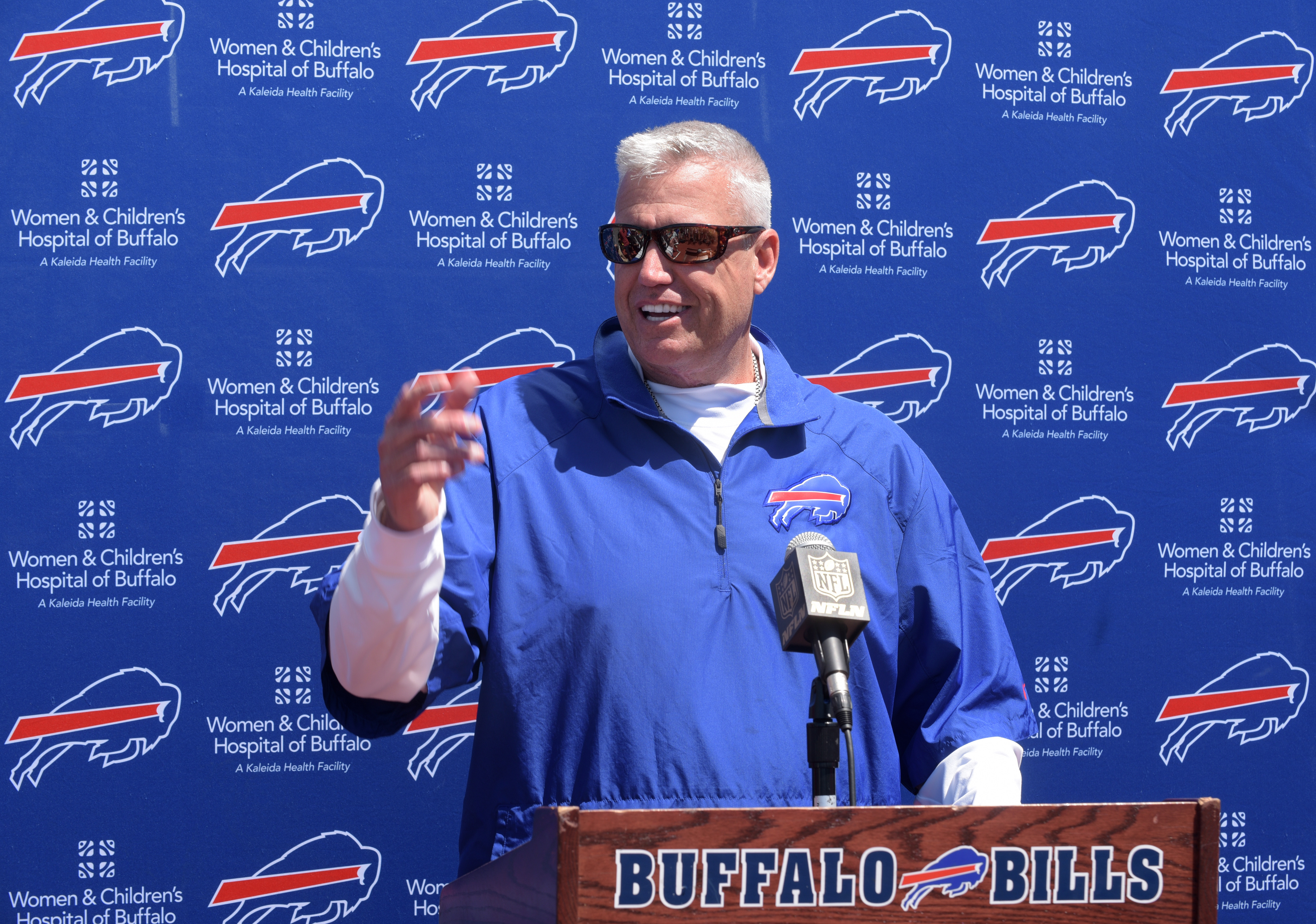 Buffalo Bills head coach Rex Ryan speaks during an NFL football press conference Wednesay, June 3, 2015, in Orchard Park, N.Y. (AP Photo/Gary Wiepert)