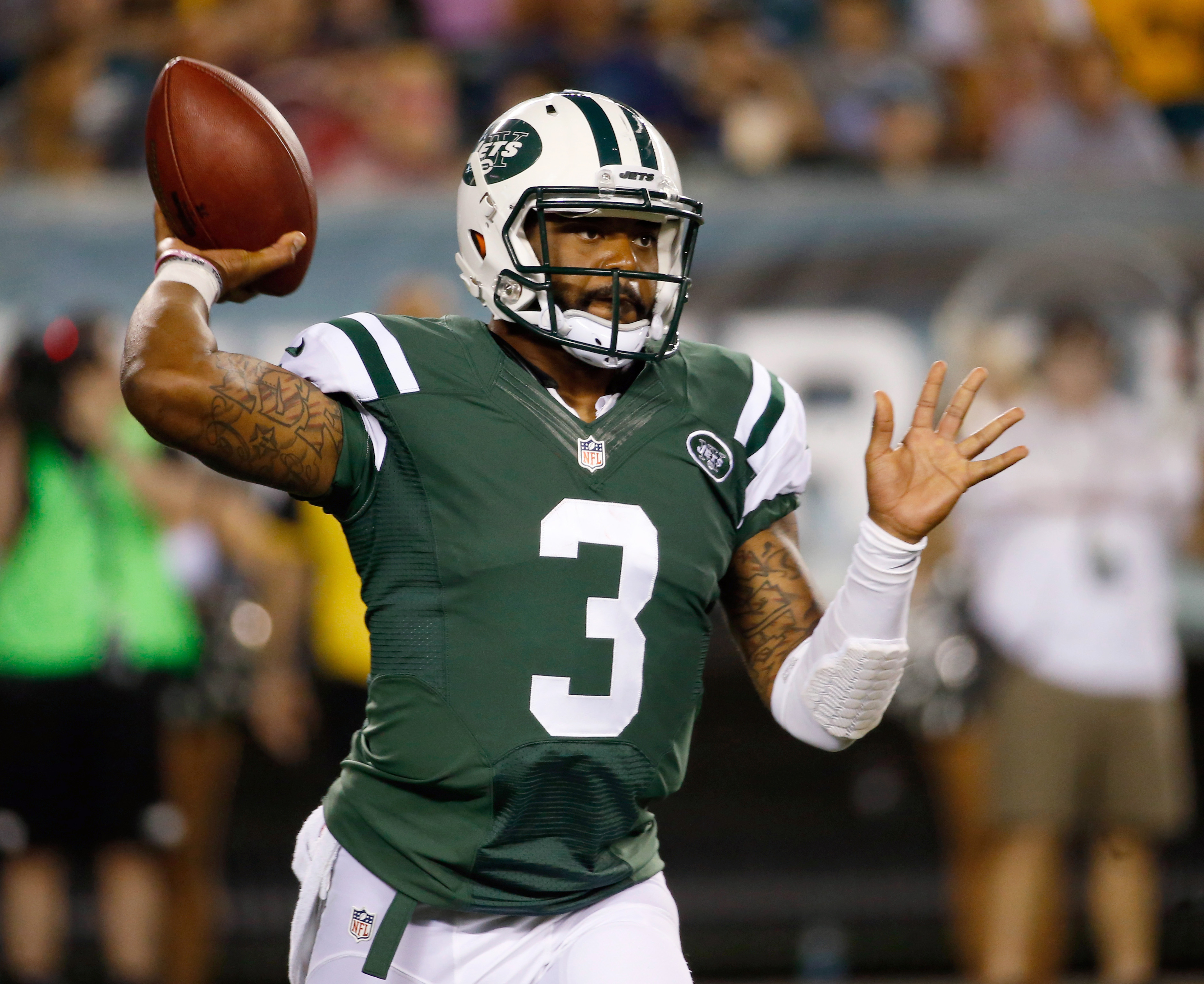 FILE - In this August 2014 file photo, New York Jets' Tajh Boyd passes during the second half of an NFL preseason football game against the Philadelphia Eagles in Philadelphia. Boyd, who was a star college quarterback, is hoping to resurrect his career as