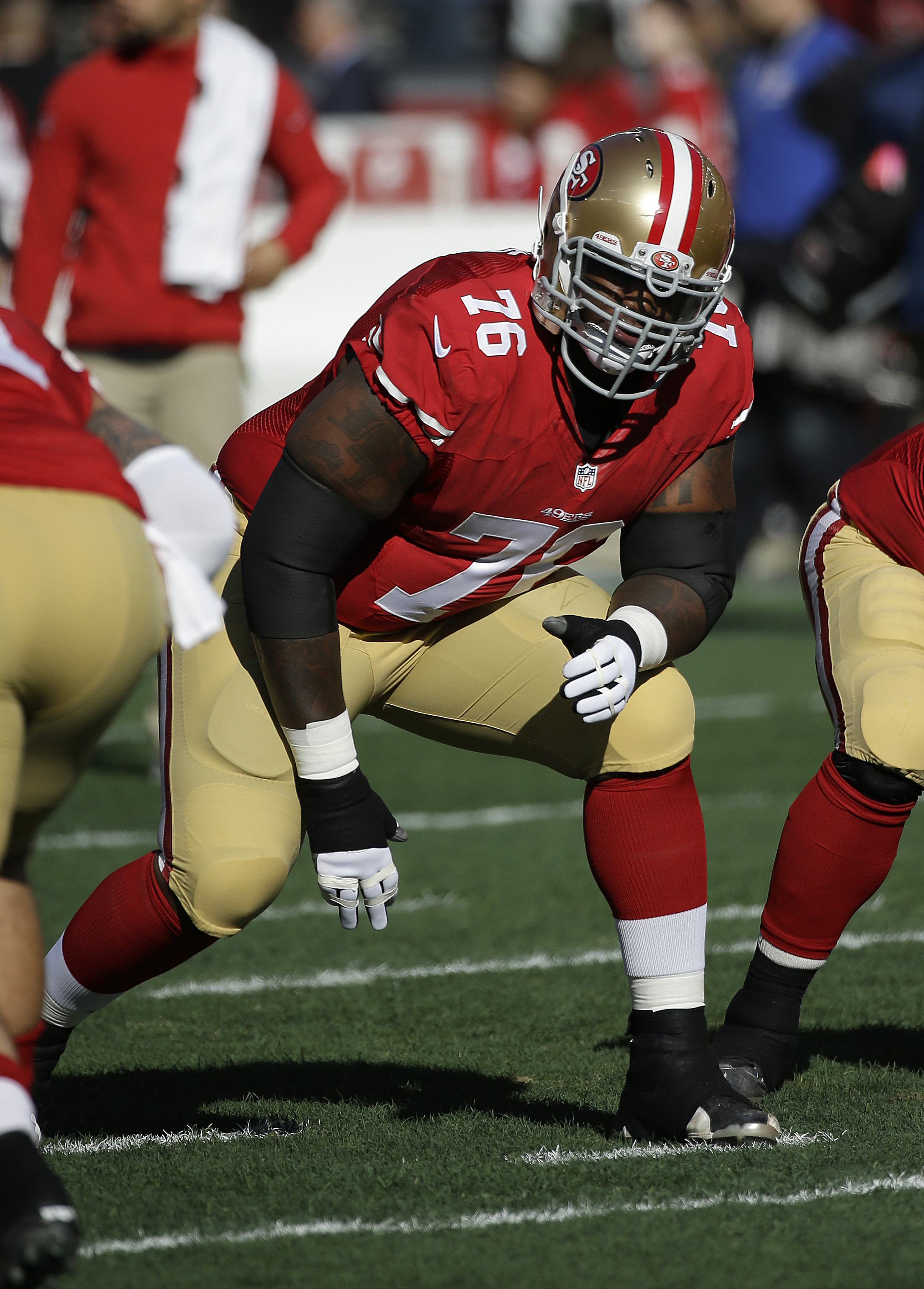 San Francisco 49ers offensive tackle Anthony Davis (76) before an NFL football game against the Arizona Cardinals in Santa Clara, Calif., Sunday, Dec. 28, 2014. (AP Photo/Marcio Jose Sanchez)