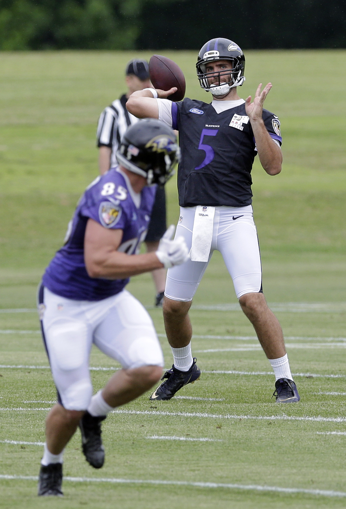 Baltimore Ravens quarterback Joe Flacco (5) throws a pass to tight end Allen Reisner during NFL football minicamp, Wednesday, June 17, 2015, in Owings Mills, Md. (AP Photo/Patrick Semansky)