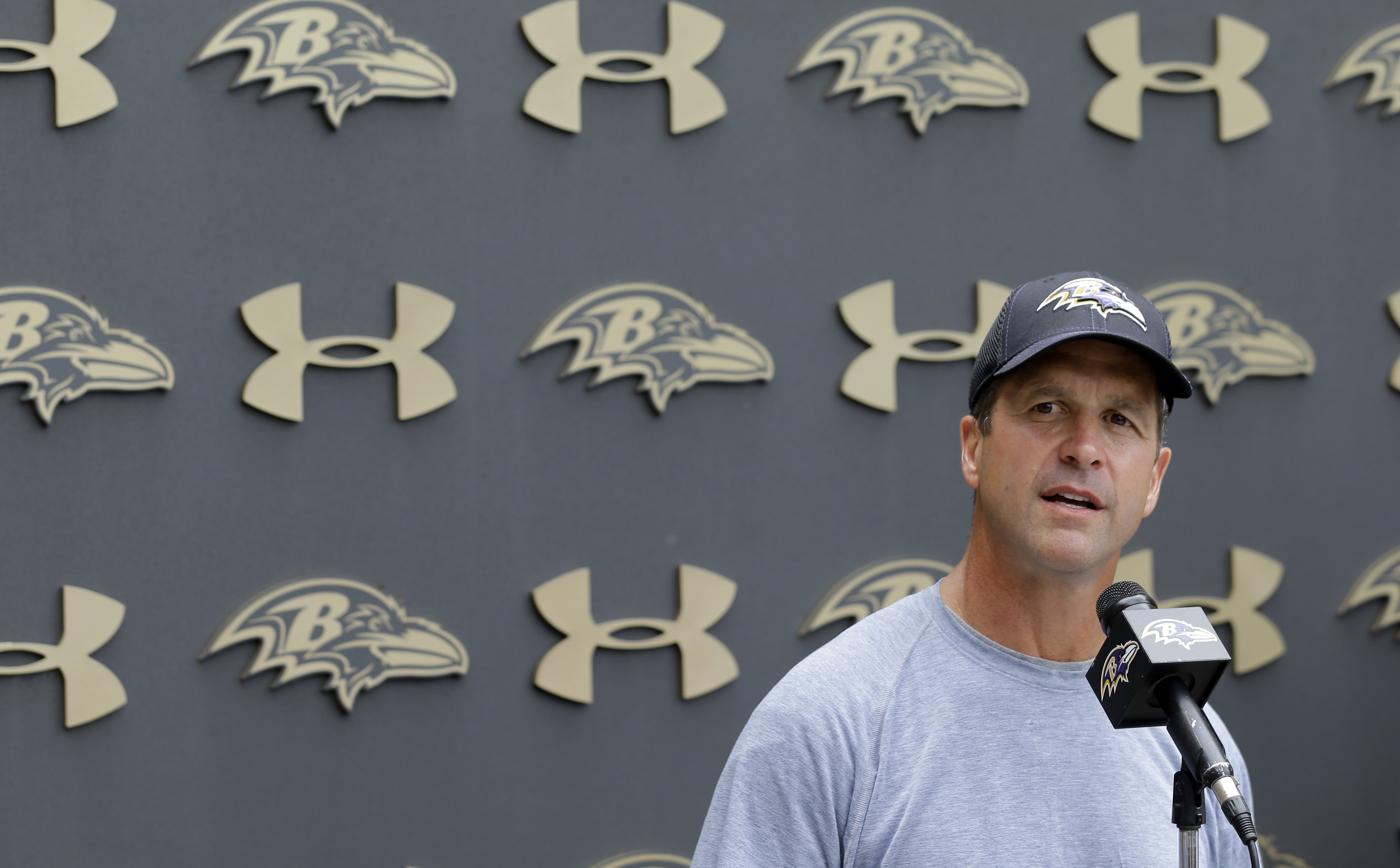 Baltimore Ravens head coach John Harbaugh speaks at a news conference after NFL football minicamp, Thursday, June 18, 2015, in Owings Mills, Md. (AP Photo/Patrick Semansky)