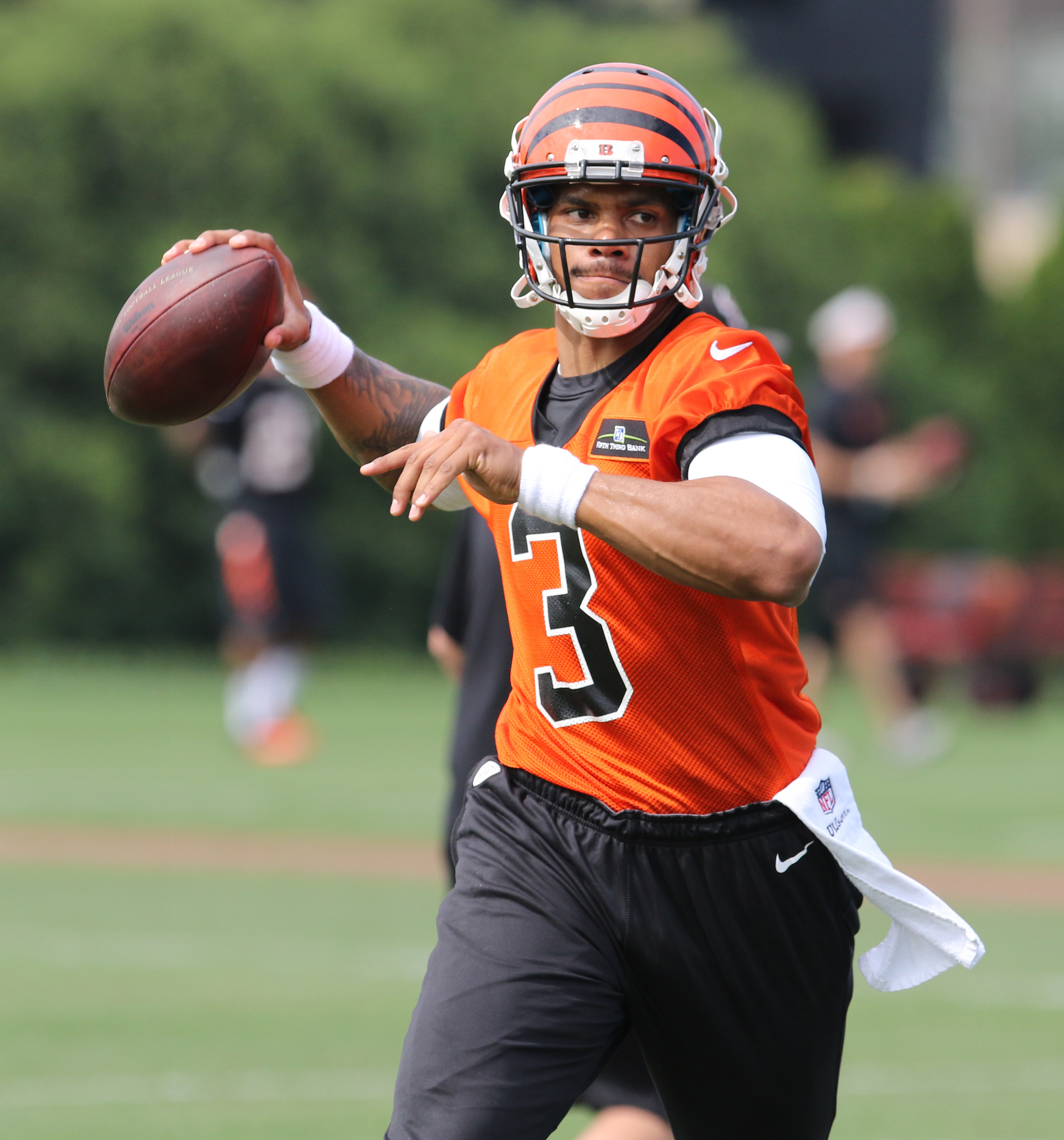FILE - In this May 9, 2015, file photo, Cincinnati Bengals quarterback Terrelle Pryor throws during NFL football rookie minicamp in Cincinnati. The Cleveland Browns on Monday, June 22, 2015, have been awarded Pryor on waivers from Cincinnati and will give