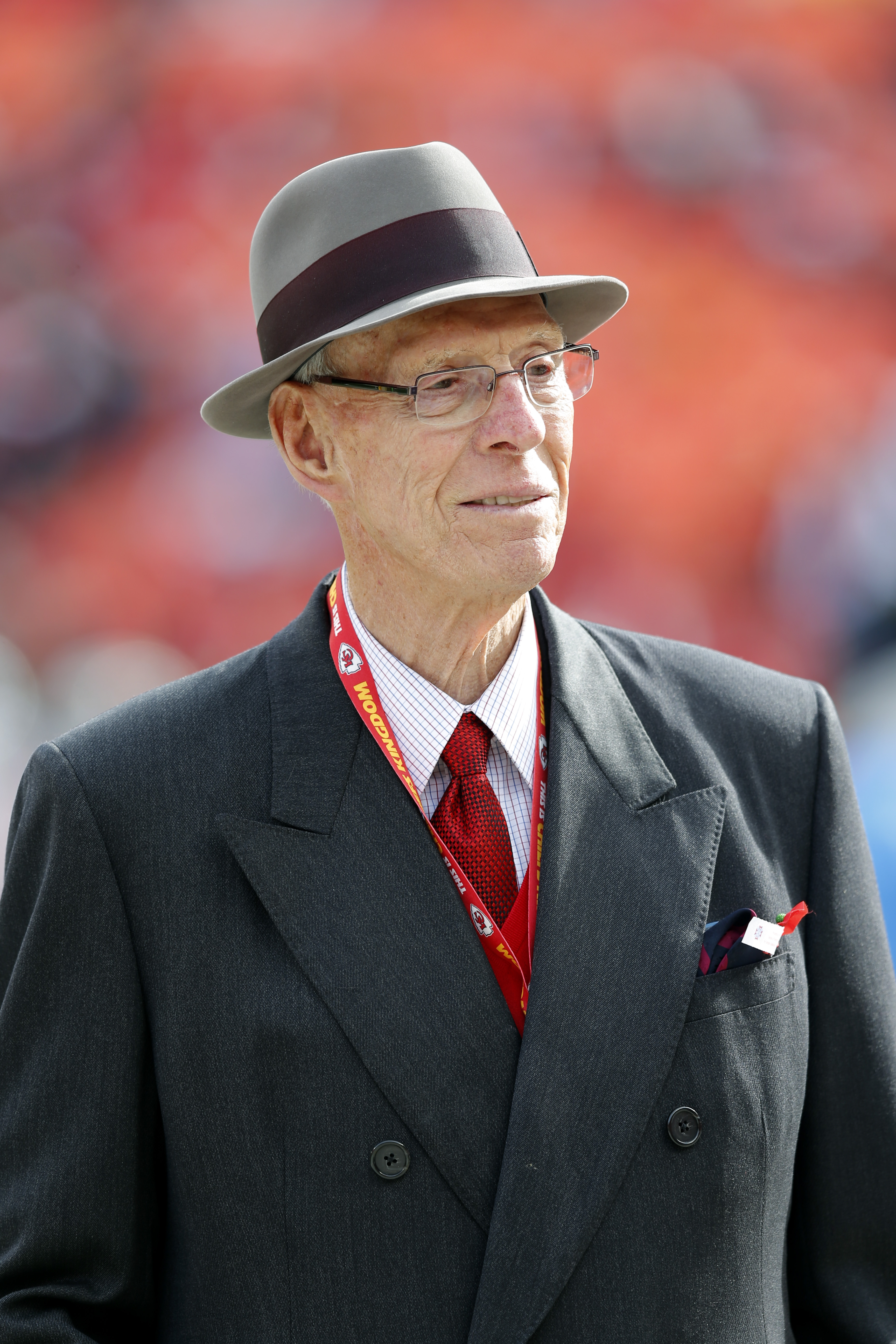 Former Kansas City Chiefs general manager Jack Steadman prior to an NFL football game against the San Diego Chargers Sunday, Nov. 24, 2013, in Kansas City, Mo. (AP Photo/Ed Zurga)