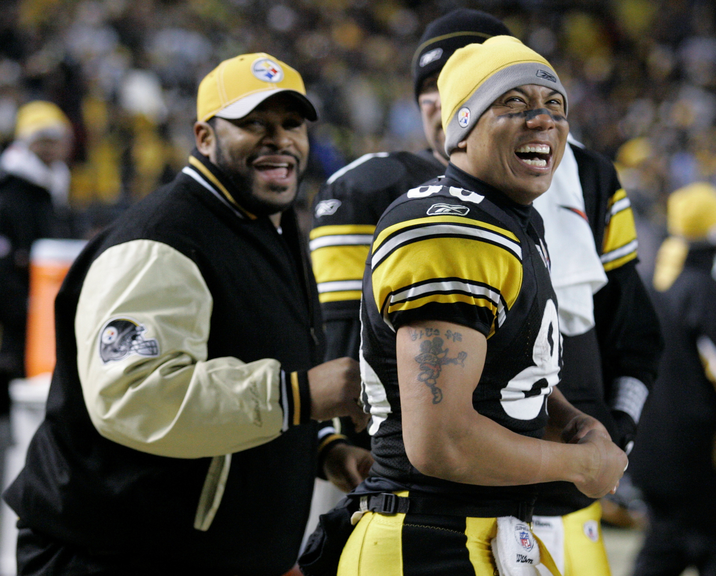 FILE - In this Jan. 11, 2009, file photo, Pittsburgh Steelers receiver Hines Ward, right, and retired Steelers running back Jerome Bettis smiles during an NFL divisional playoff football game against the San Diego Chargers in Pittsburgh. Bettis served as