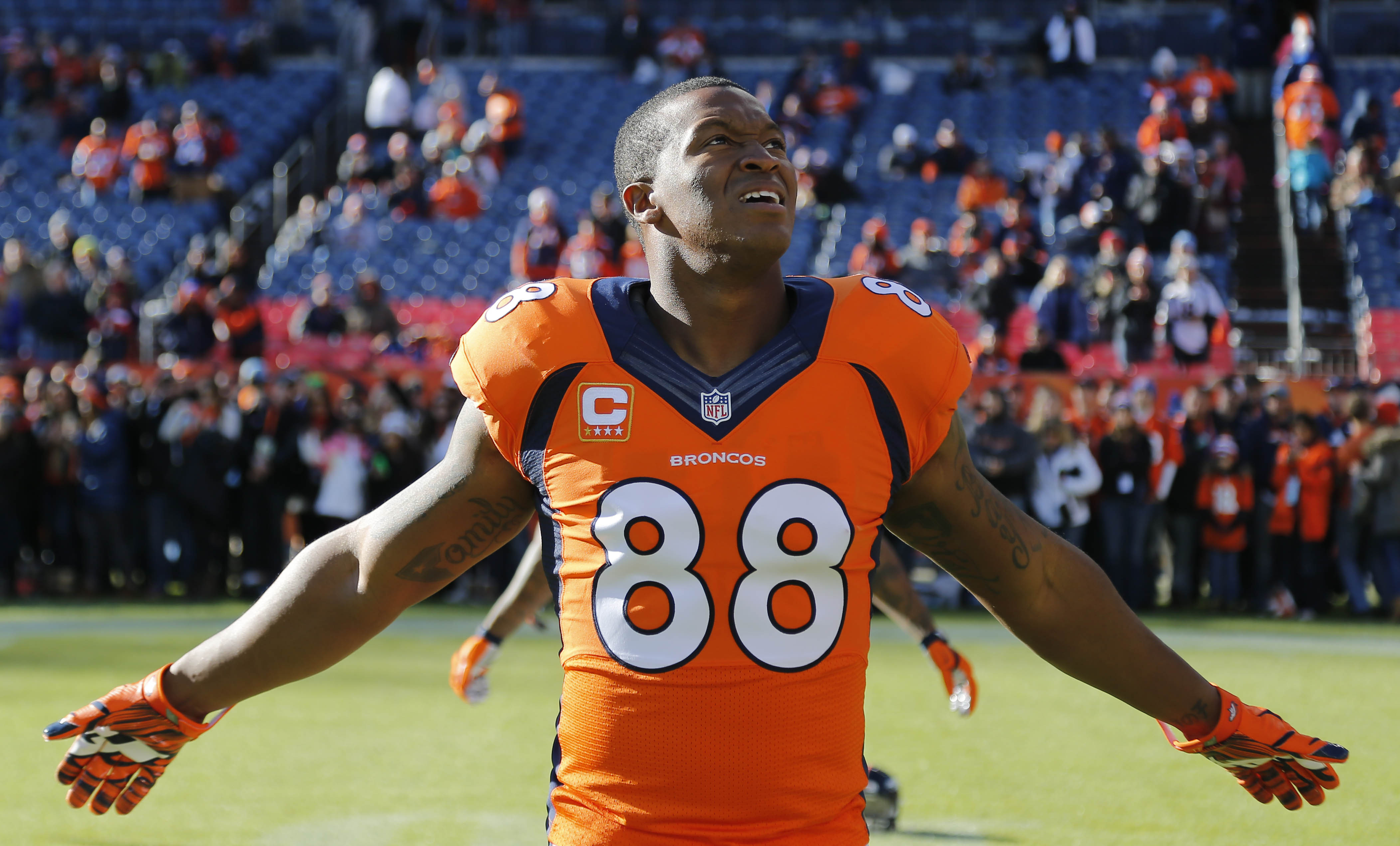 Denver Broncos wide receiver Demaryius Thomas (88) stretches prior to an NFL football game against the Oakland Raiders, Sunday, Dec. 28, 2014, in Denver. (AP Photo/Jack Dempsey)