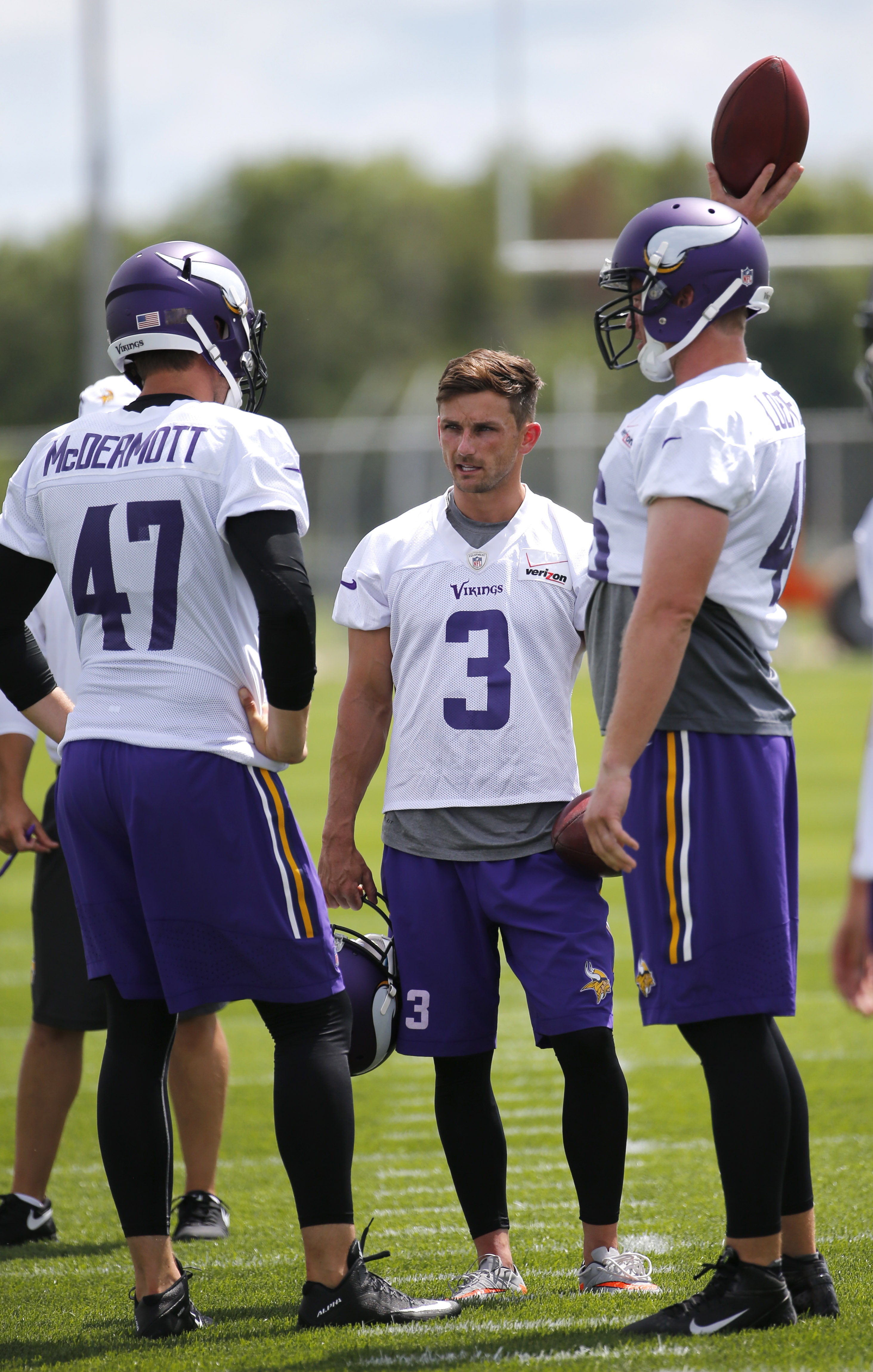 Minnesota Vikings kicker Blair Walsh (3) stands with teammates before an afternoon practice session at an NFL football training camp on the campus of Minnesota State University, Sunday, July 26, 2015, in Mankato, Minn. The Vikings announced Sunday that Wa