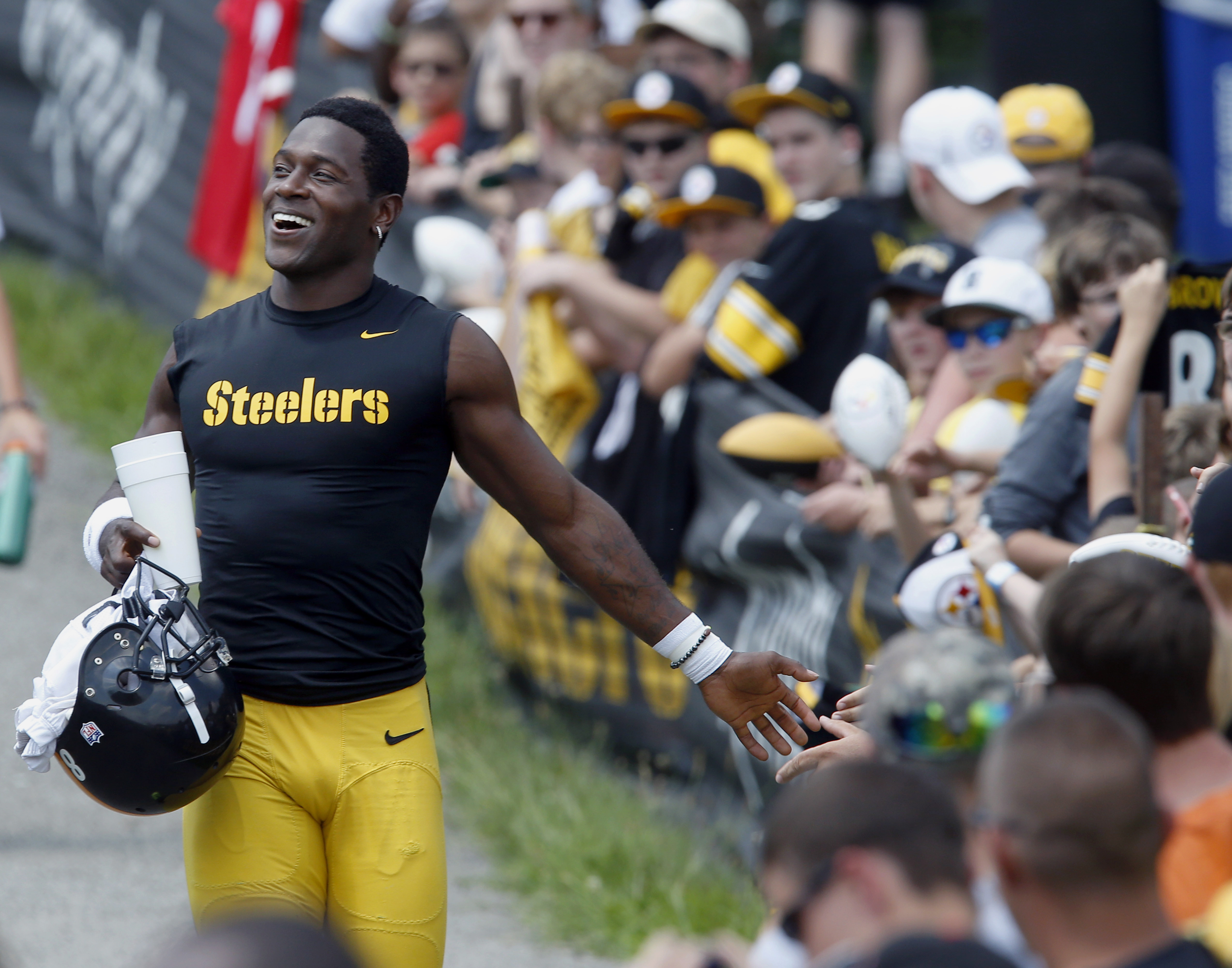 Pittsburgh Steelers wide receiver Antonio Brown is greeted by fans as he takes the field for practice at NFL football training camp in Latrobe, Pa., Monday, July 27, 2015. (AP Photo/Keith Srakocic)
