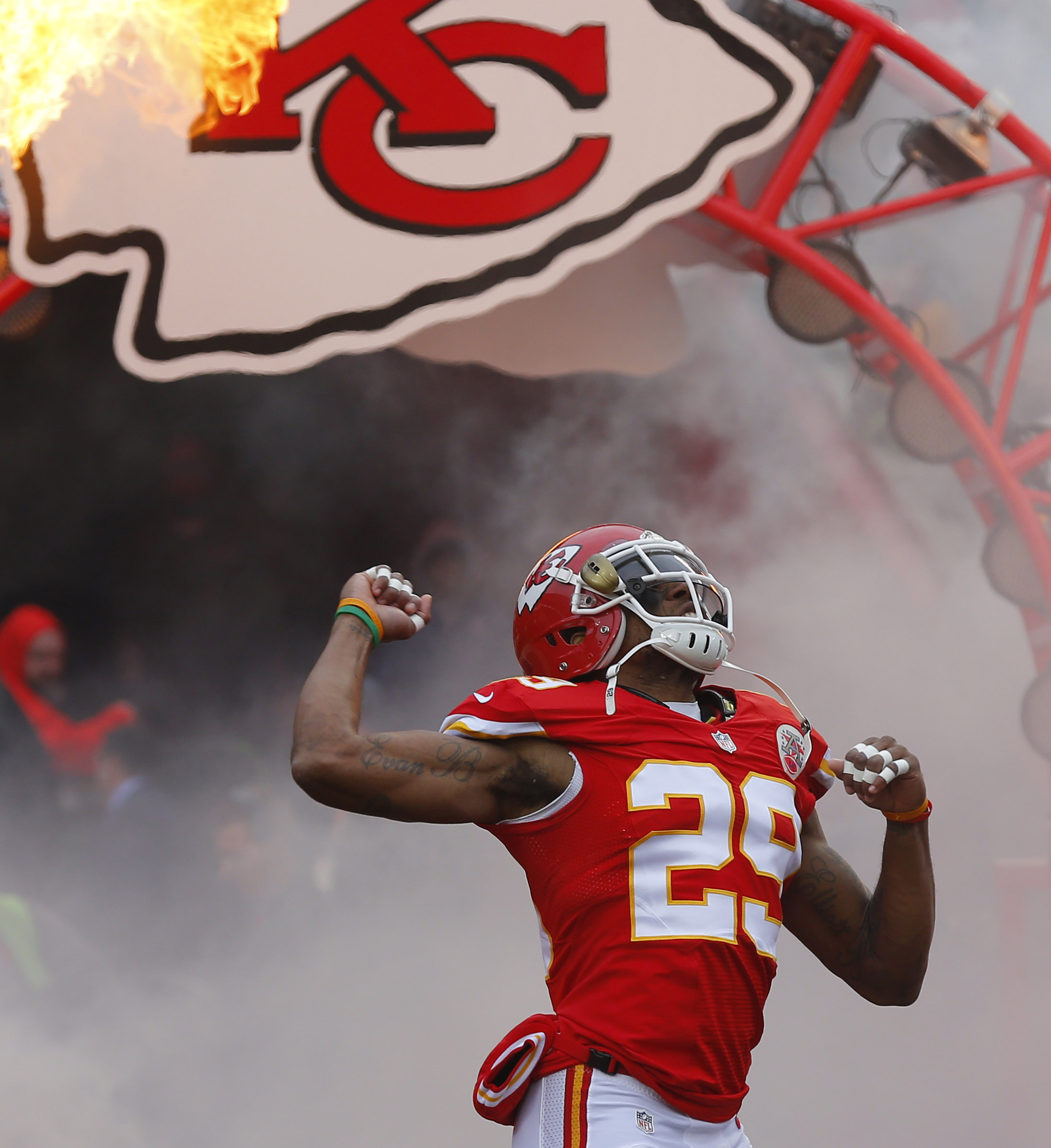 FILE - In this Nov. 16, 2014, file photo, Kansas City Chiefs strong safety Eric Berry (29) enters the field prior to an NFL football game against the Seattle Seahawks in Kansas City, Mo. Berry is gearing up for a fight after a mass was found in his chest