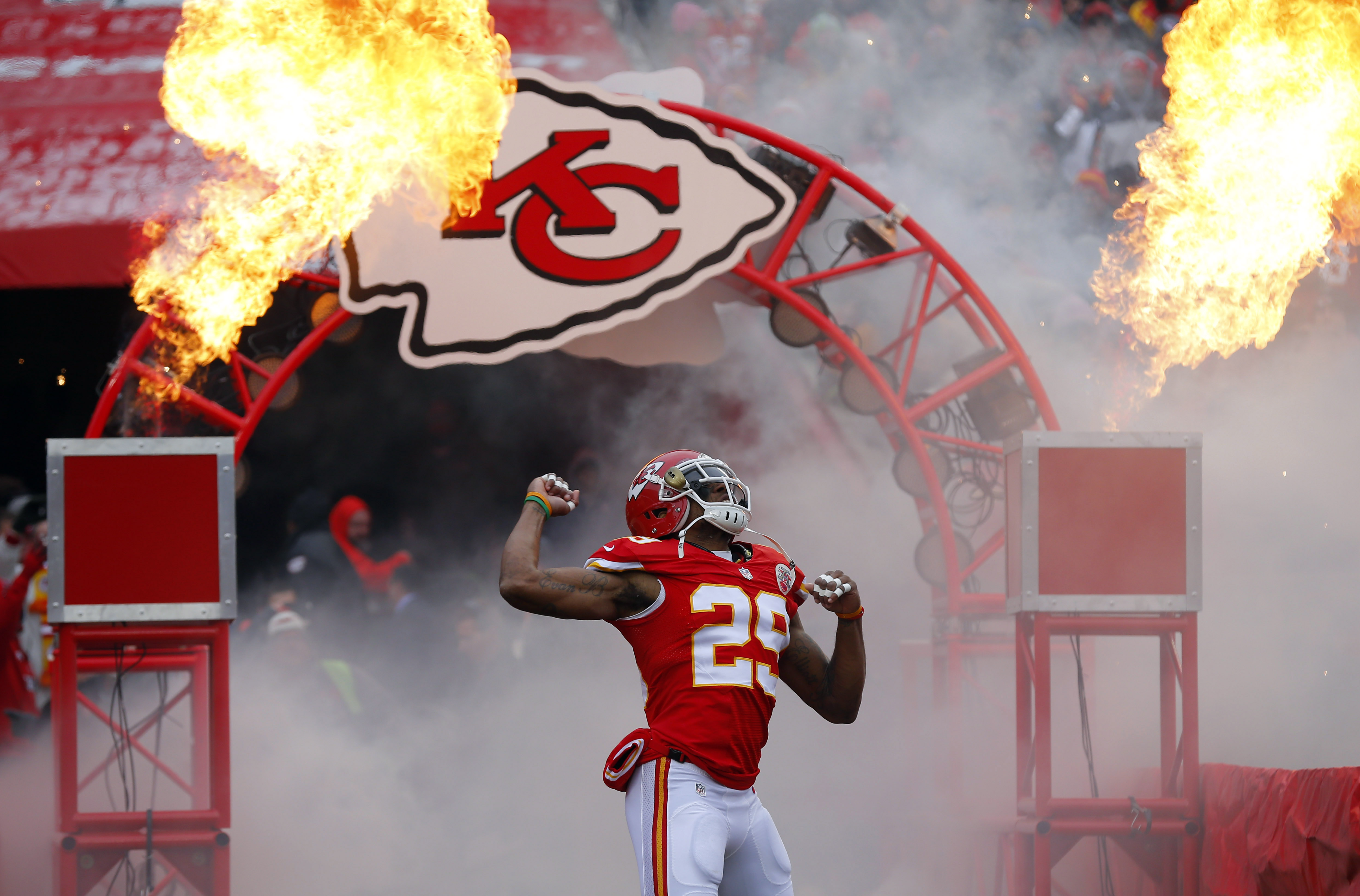 FILE - In this Nov. 16, 2014, file photo, Kansas City Chiefs strong safety Eric Berry enters the field prior to an NFL football game against the Seattle Seahawks in Kansas City, Mo.  Berry, cleared by the Kansas City medical staff and his own doctors afte