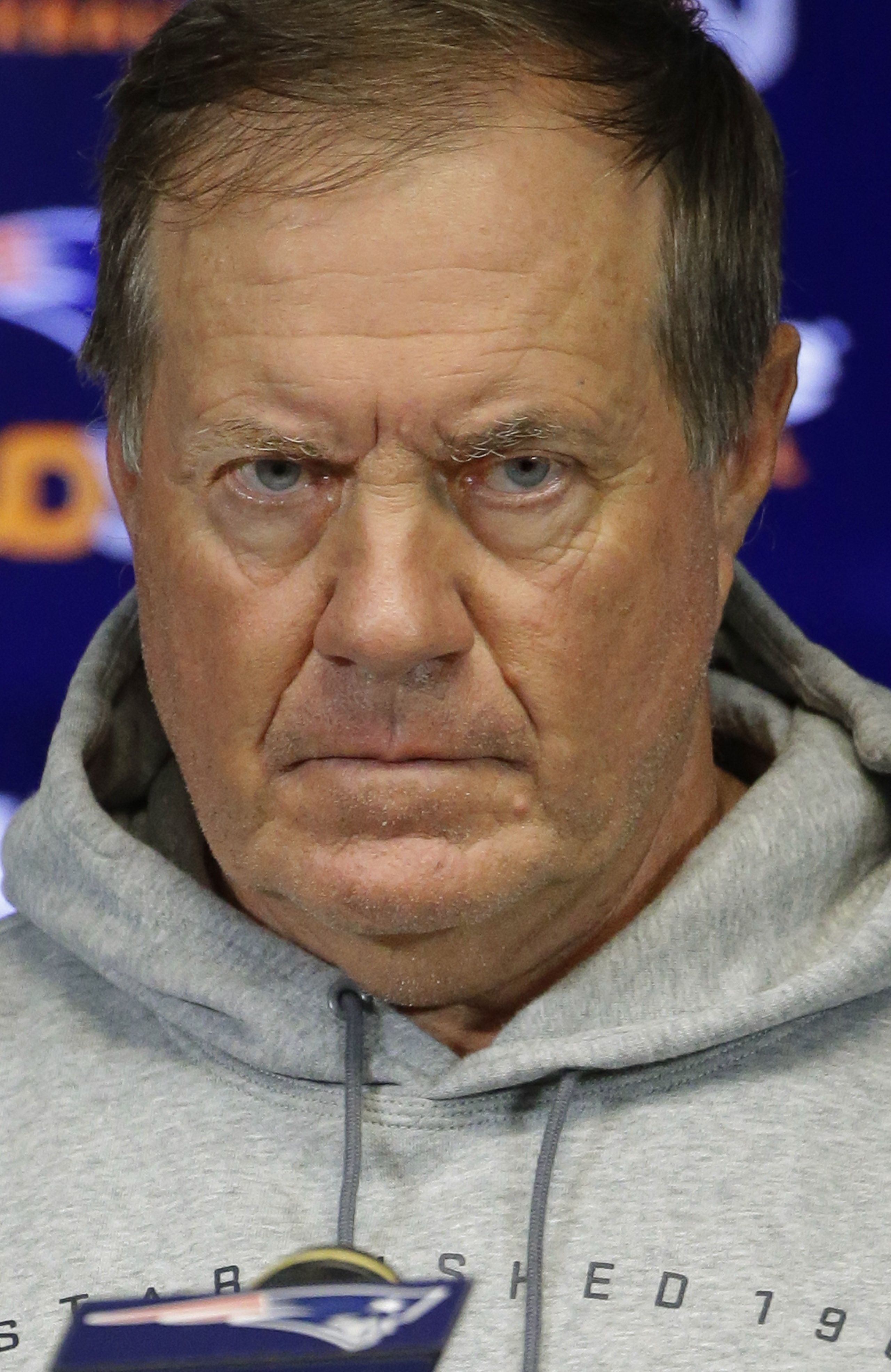 New England Patriots head coach Bill Belichick refuses to answer reporter's questions concerning NFL Commissioner Roger Goodell's action upholding New England Patriots quarterback Tom Brady's four game deflated footballs suspension during an NFL football