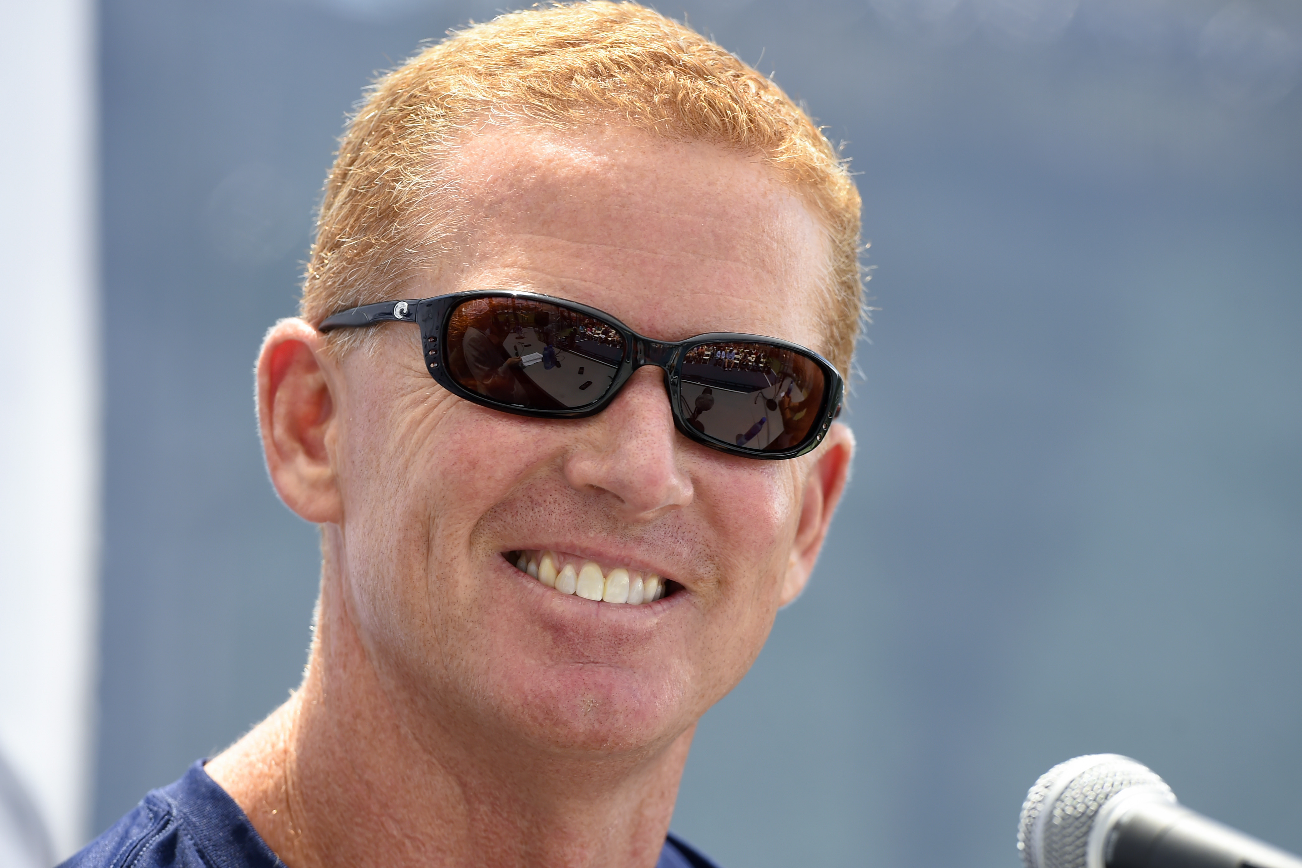 """Dallas Cowboys head coach Jason Garrett reacts to a question during the """"state of the team"""" news conference at the start of NFL football training camp, Wednesday, July 29, 2015, in Oxnard, Calif. (AP Photo/Gus Ruelas)"""