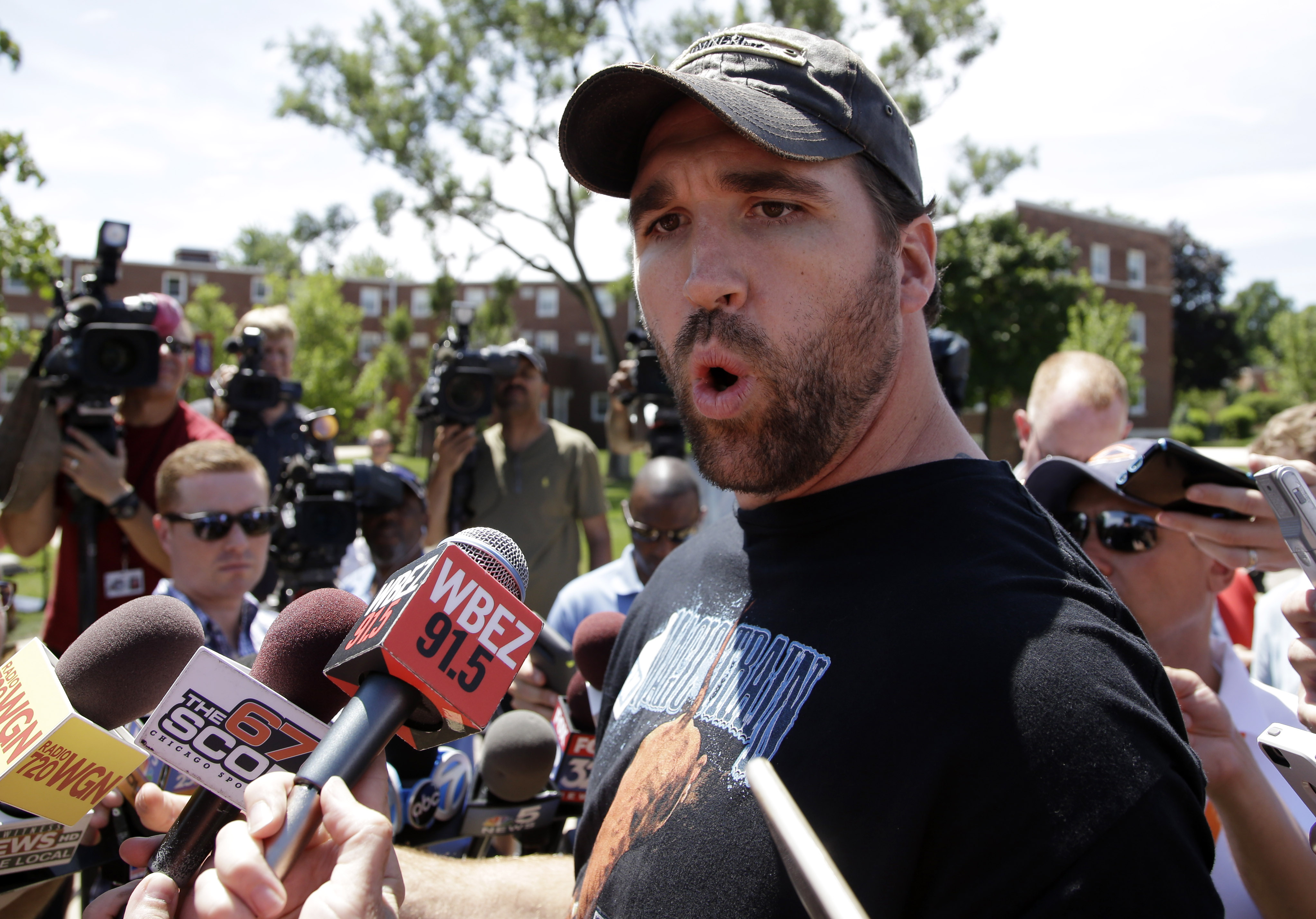 Chicago Bears linebacker Jared Allen speaks during an NFL football training camp media availability at Olivet Nazarene University, Wednesday, July 29, 2015, in Bourbonnais, Ill. (AP Photo/Nam Y. Huh)