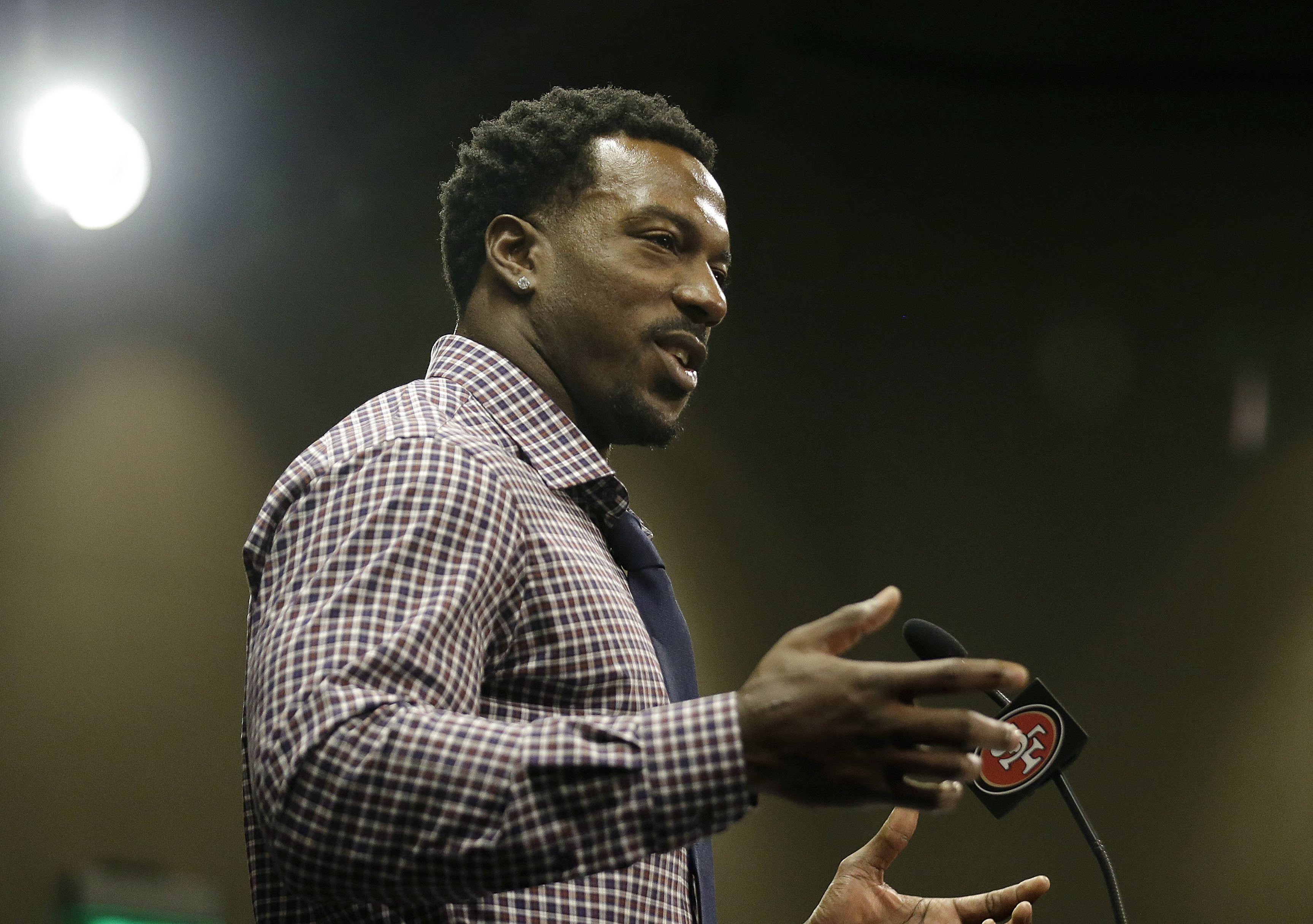 FILE - In this March 10, 2015, file photo, San Francisco 49ers linebacker Patrick Willis announces his retirement at a news conference at the 49ers' NFL football facility in Santa Clara, Calif. NFL players have brought a whole new meaning to early retirem