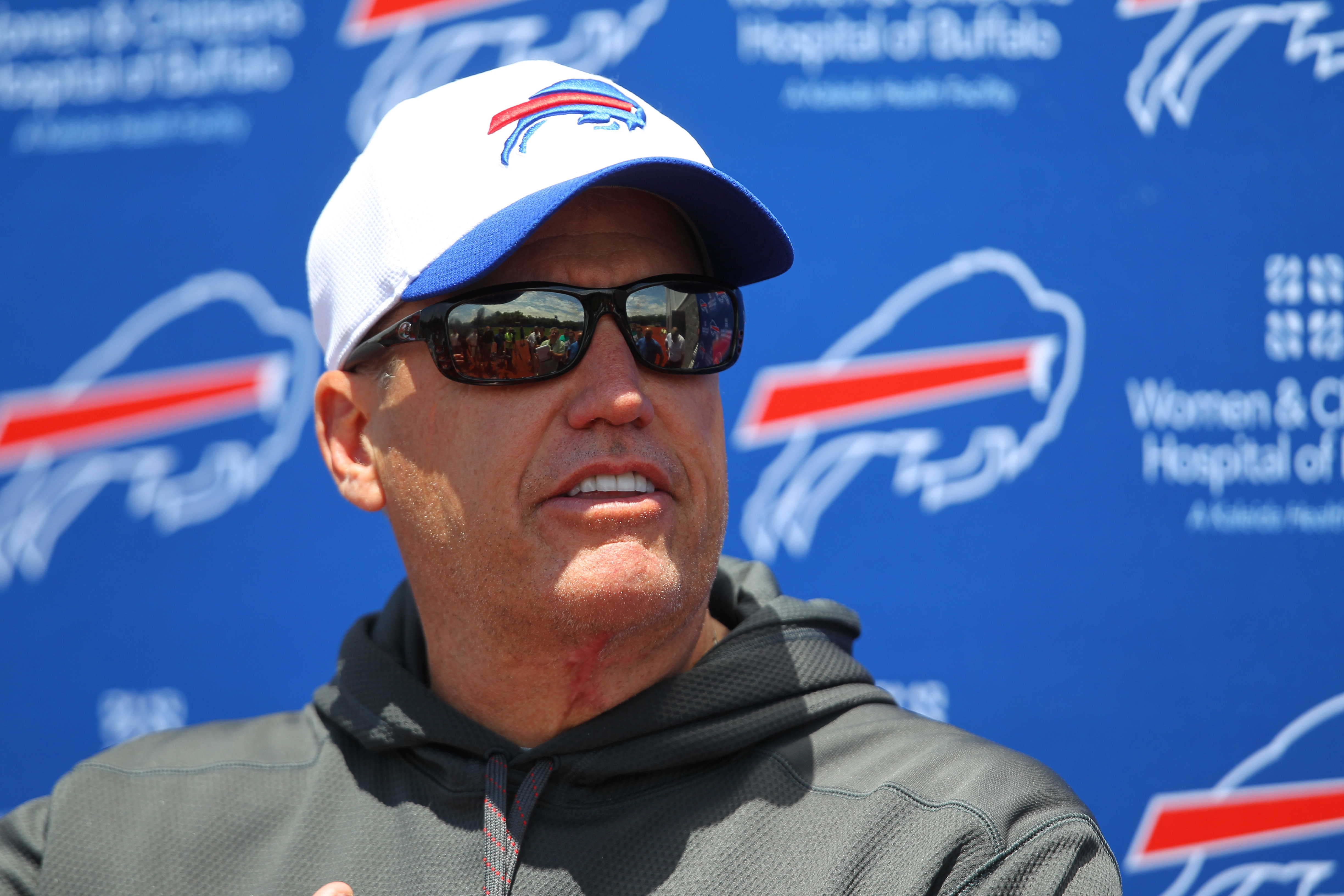 FILE - In this June 16, 2015, file photo, Buffalo Bills head coach Rex Ryan speaks to the media during NFL football minicamp in Orchard Park, N.Y. Rex Ryan already has become an iconic figure in western New York, even though he hasn't coached a scrimmage,