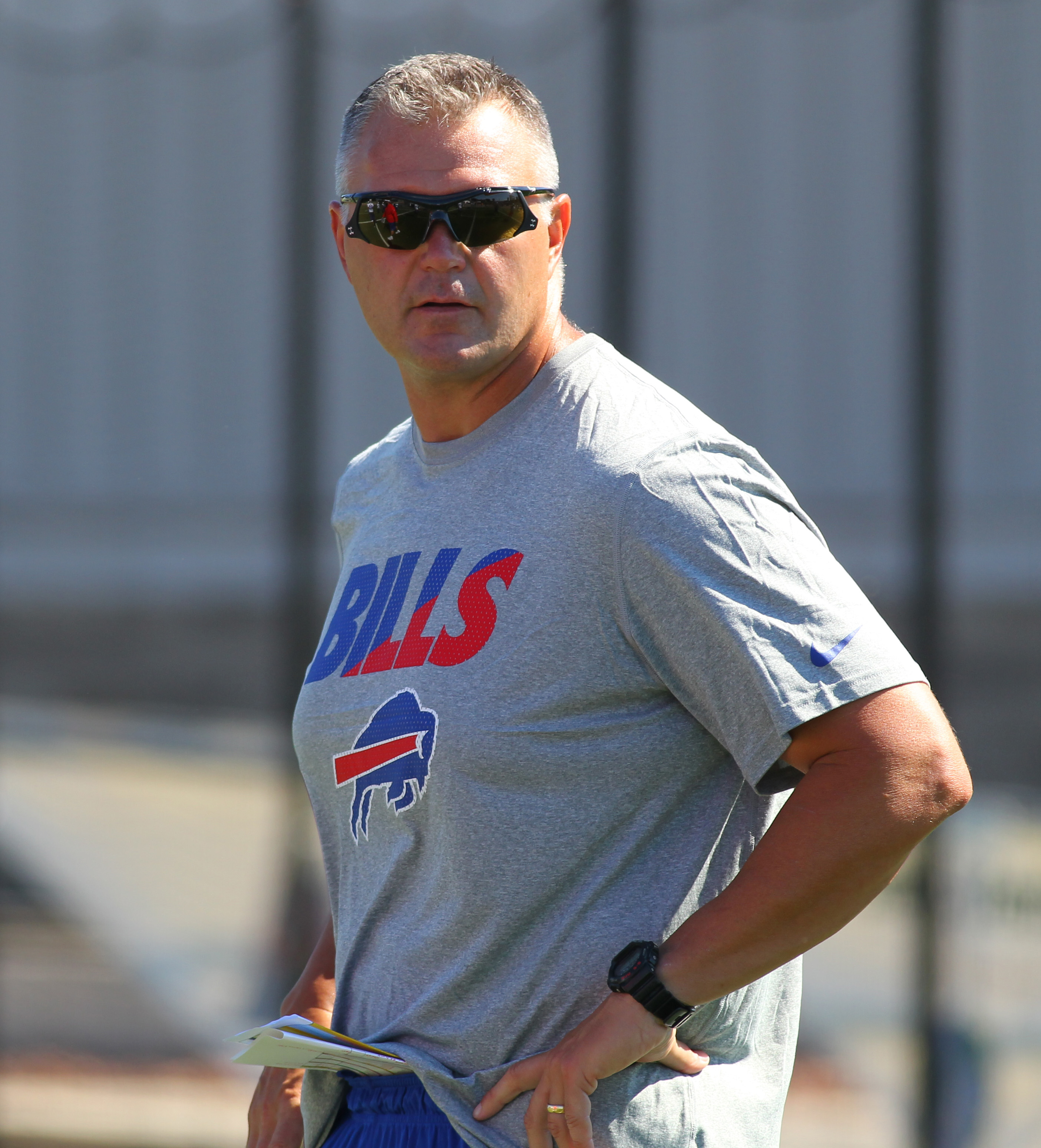 Buffalo Bills football operations consultant Pat Meyer watches the action during their NFL football training camp in Pittsford, N.Y., Friday, July 31, 2015. (AP Photo/Bill Wippert)