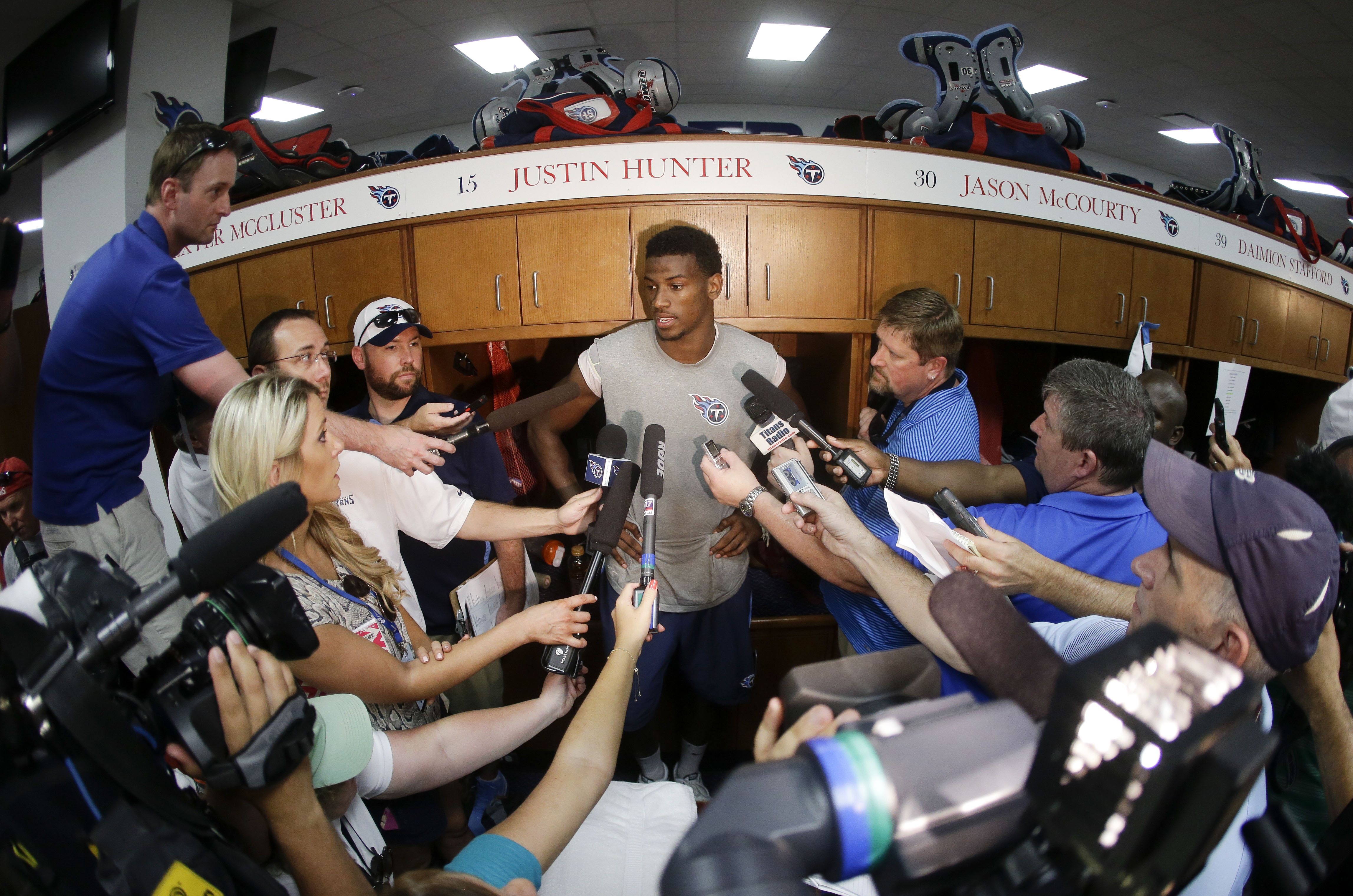 Tennessee Titans wide receiver Justin Hunter answers questions following the first day of NFL football training camp Friday, July 31, 2015, in Nashville, Tenn. (AP Photo/Mark Humphrey)
