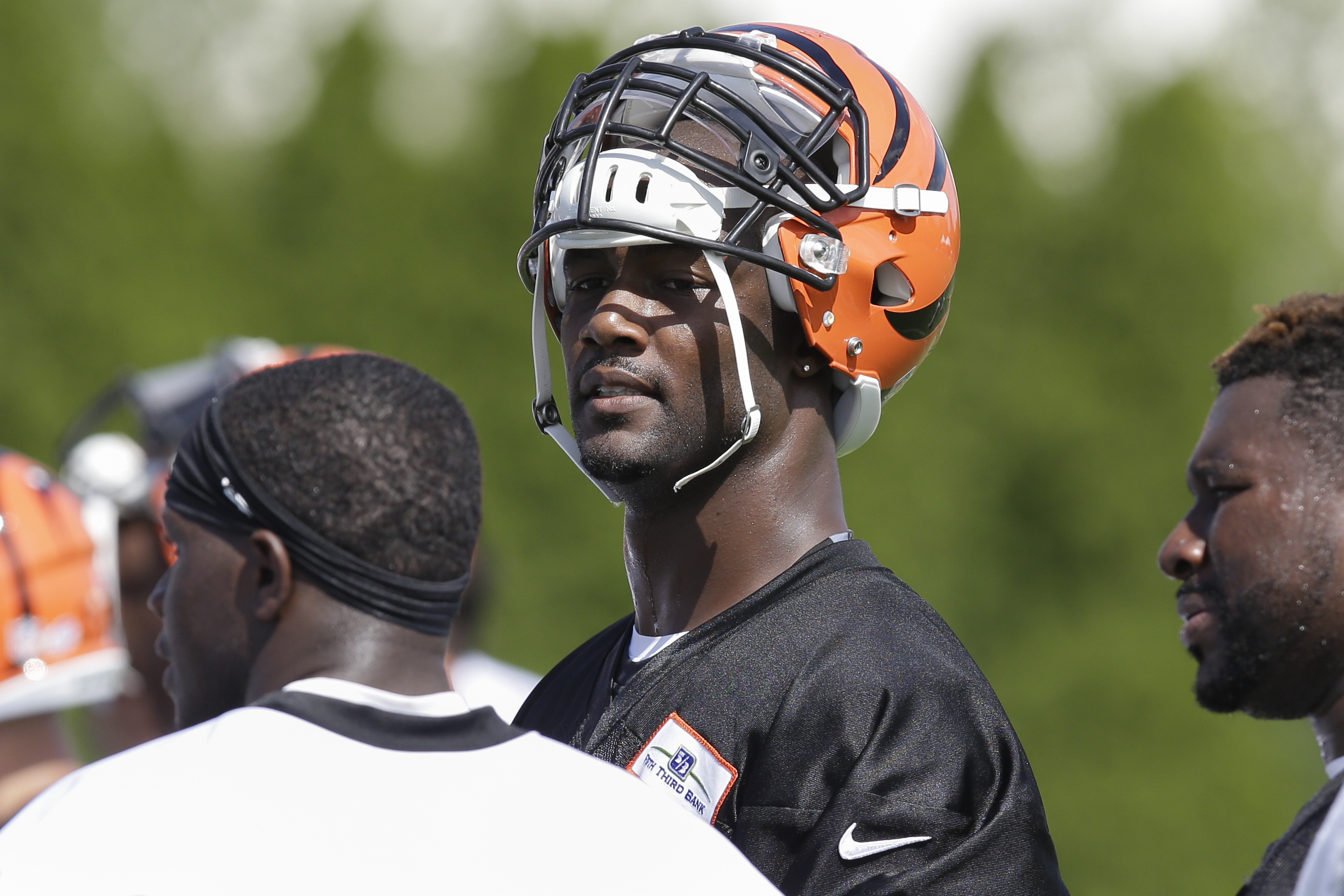 Cincinnati Bengals defensive end Michael Johnson participates in NFL football training camp, Saturday, Aug. 1, 2015, in Cincinnati. (AP Photo/John Minchillo)