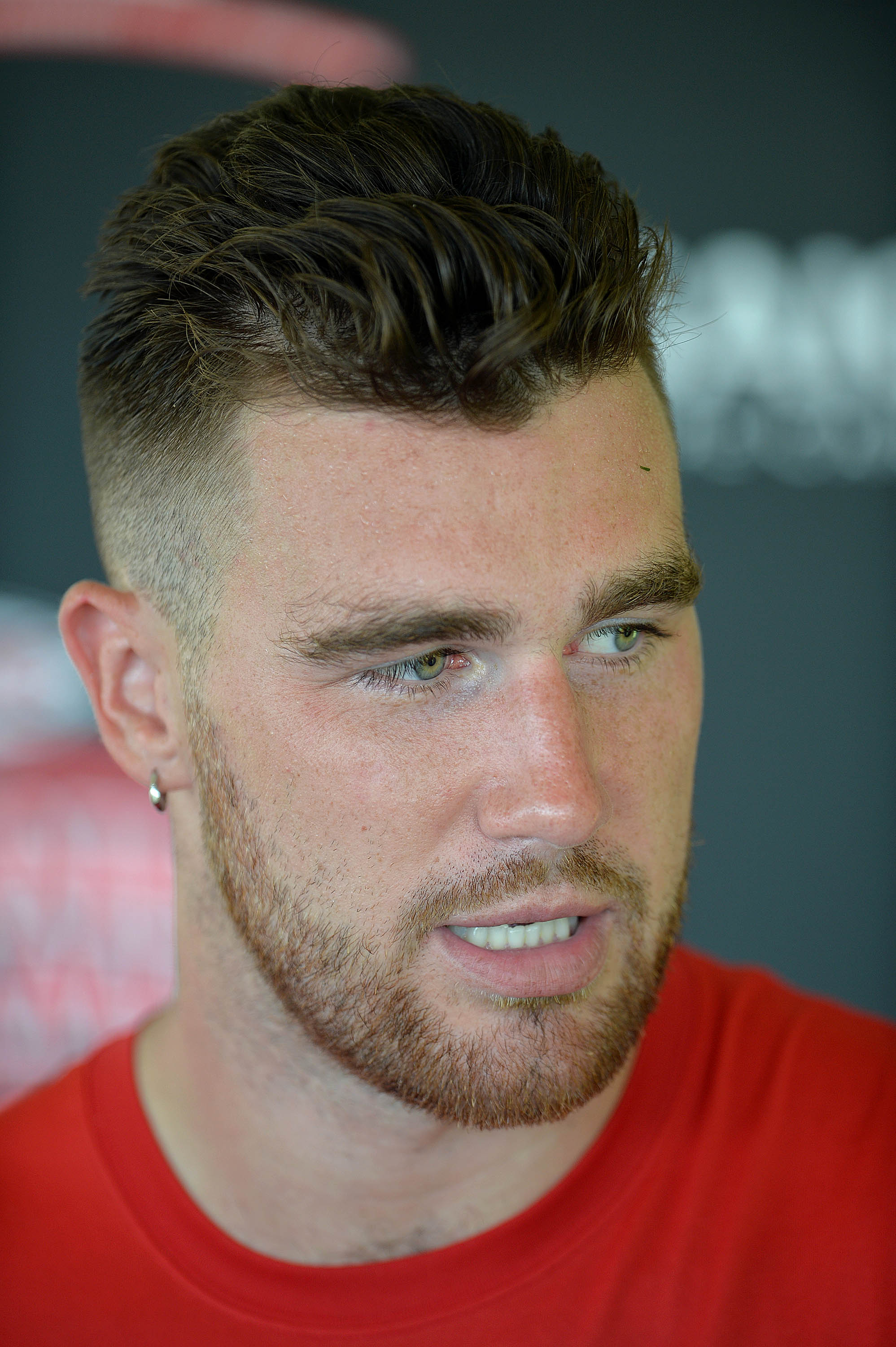 Kansas City Chiefs tight end Travis Kelce addresses members of the media during NFL football training camp practice Sunday, Aug. 2, 2015, in St. Joseph, Mo. (Andrew Carpenean/The St. Joseph News-Press via AP) MANDATORY CREDIT