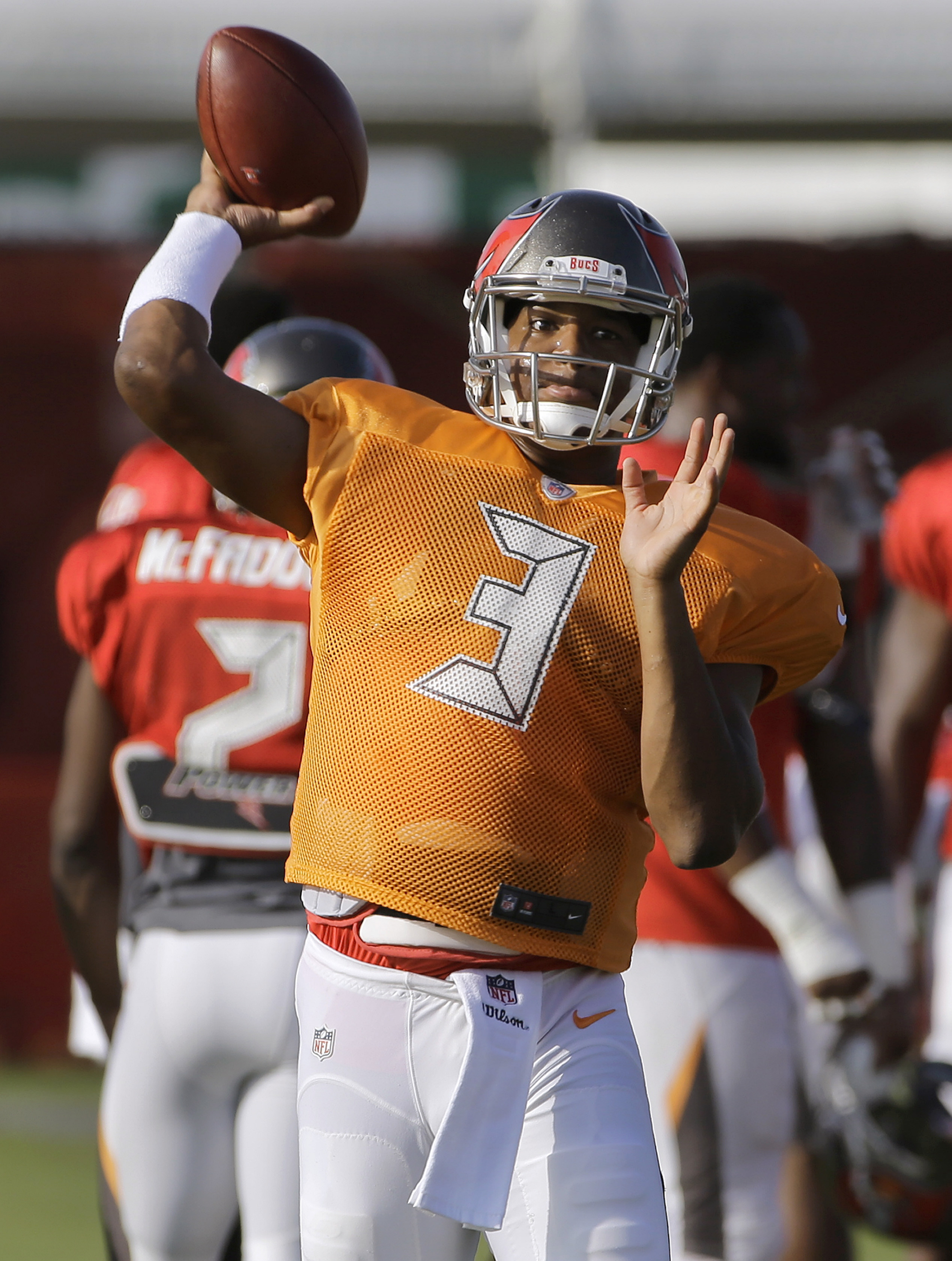Tampa Bay Buccaneers quarterback Jameis Winston throws a pass during a Buccaneers NFL football training camp practice Tuesday, Aug. 4, 2015, in Tampa, Fla. (AP Photo/Chris O'Meara)