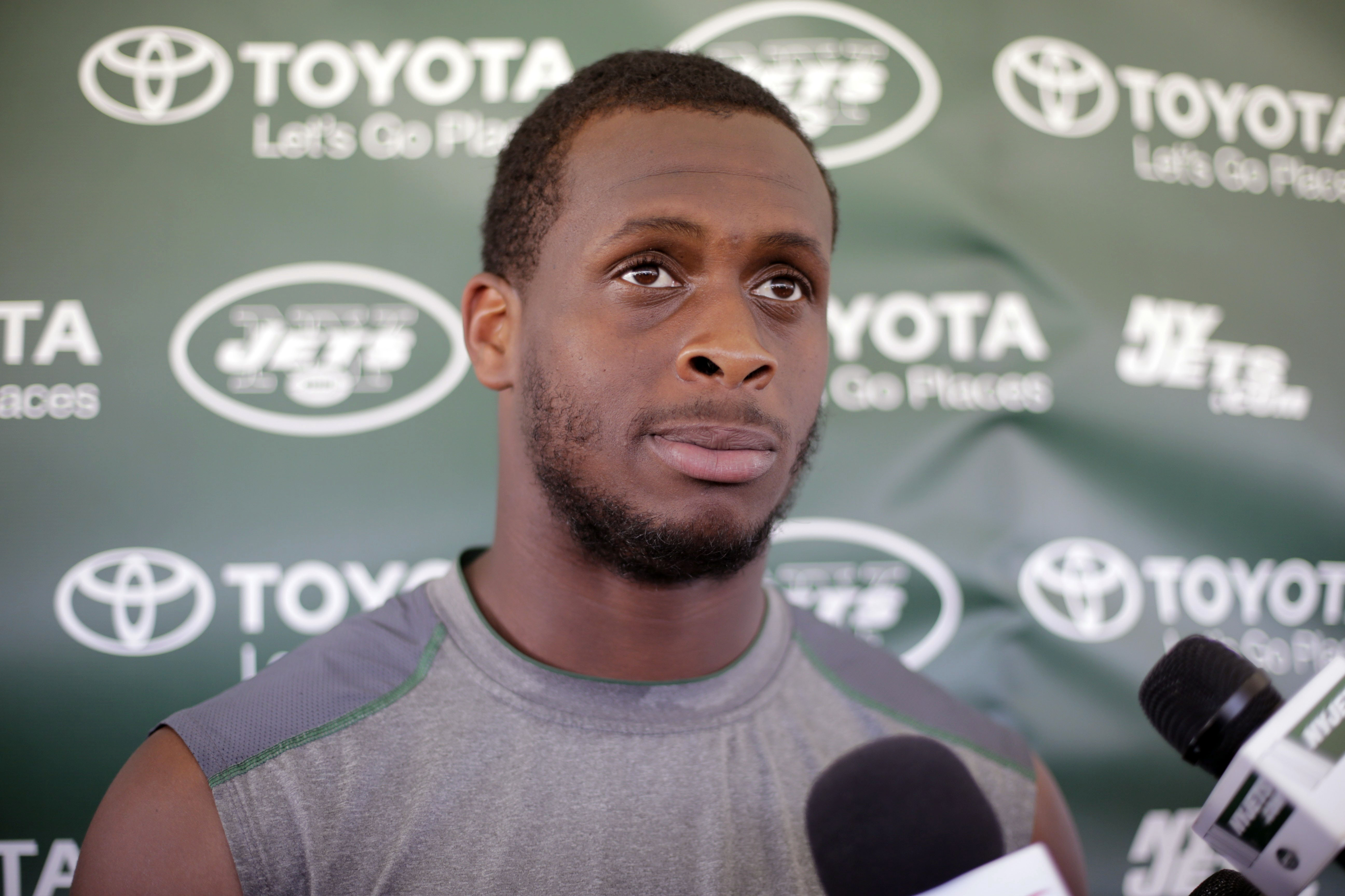 New York Jets quarterback Geno Smith responds to questions during a news conference after practice at NFL football  training camp, Tuesday, Aug. 4, 2015, in Florham Park, N.J. (AP Photo/Frank Franklin II)