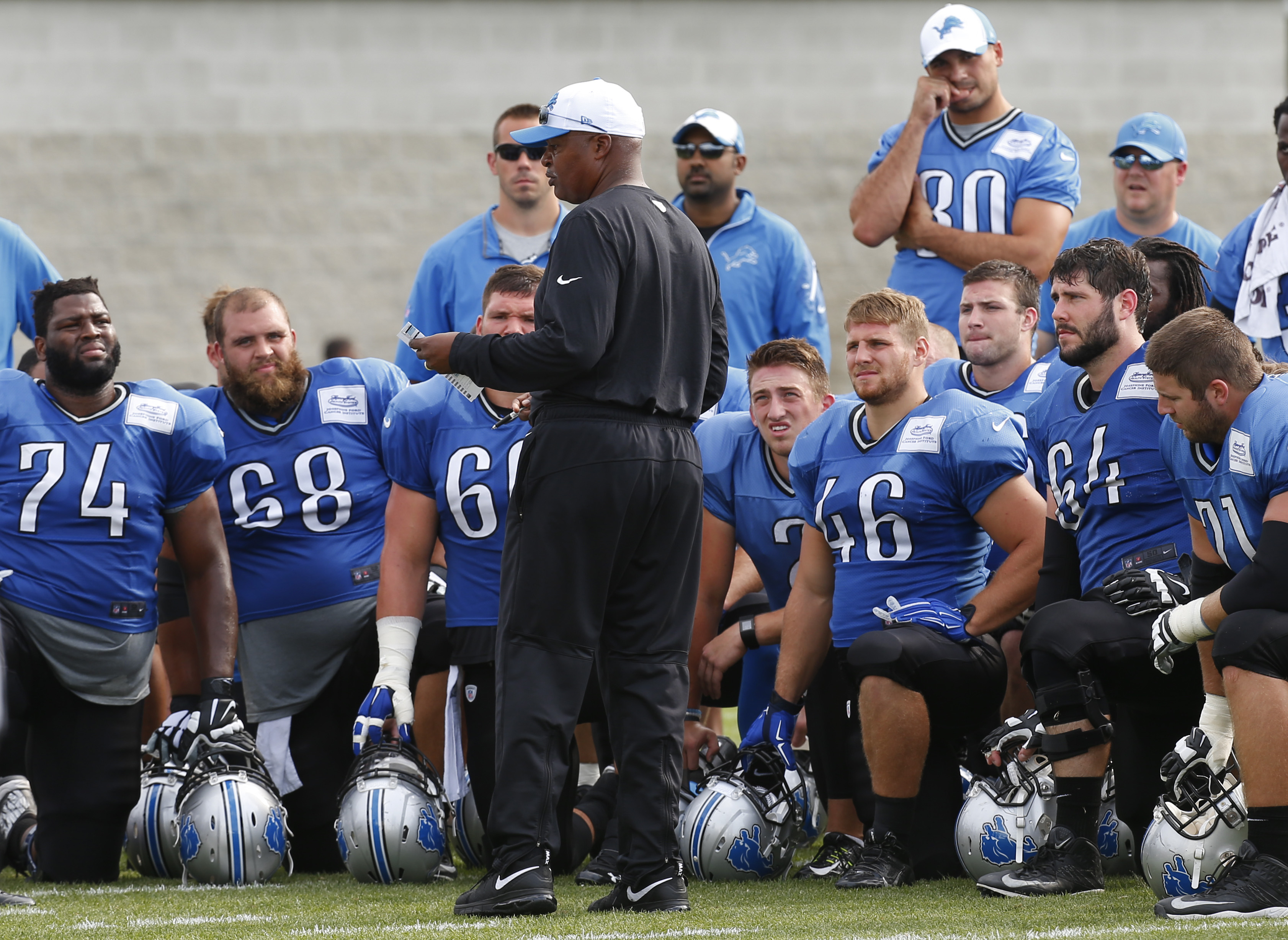 Detroit Lions head coach Jim Caldwell talks to the team after NFL football training camp in Allen Park, Mich., Friday, Aug. 7, 2015. (AP Photo/Paul Sancya)