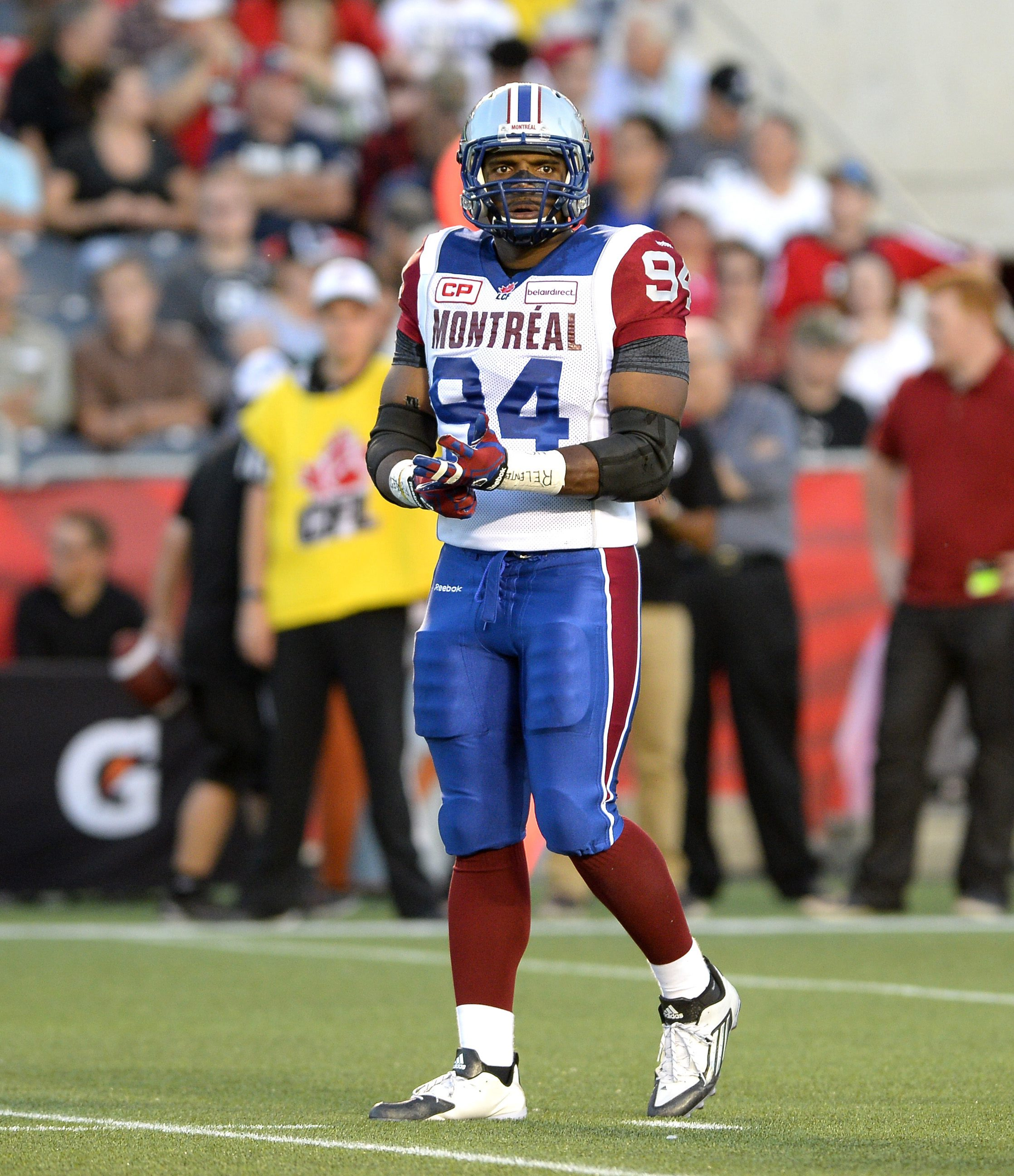 Montreal Alouettes' Michael Sam takes to the field for the Alouettes' Canadian Football League game against the Ottawa Redblacks on Friday, Aug. 7, 2015, in Ottawa, Ontario. (Justin Tang/The Canadian Press via AP)