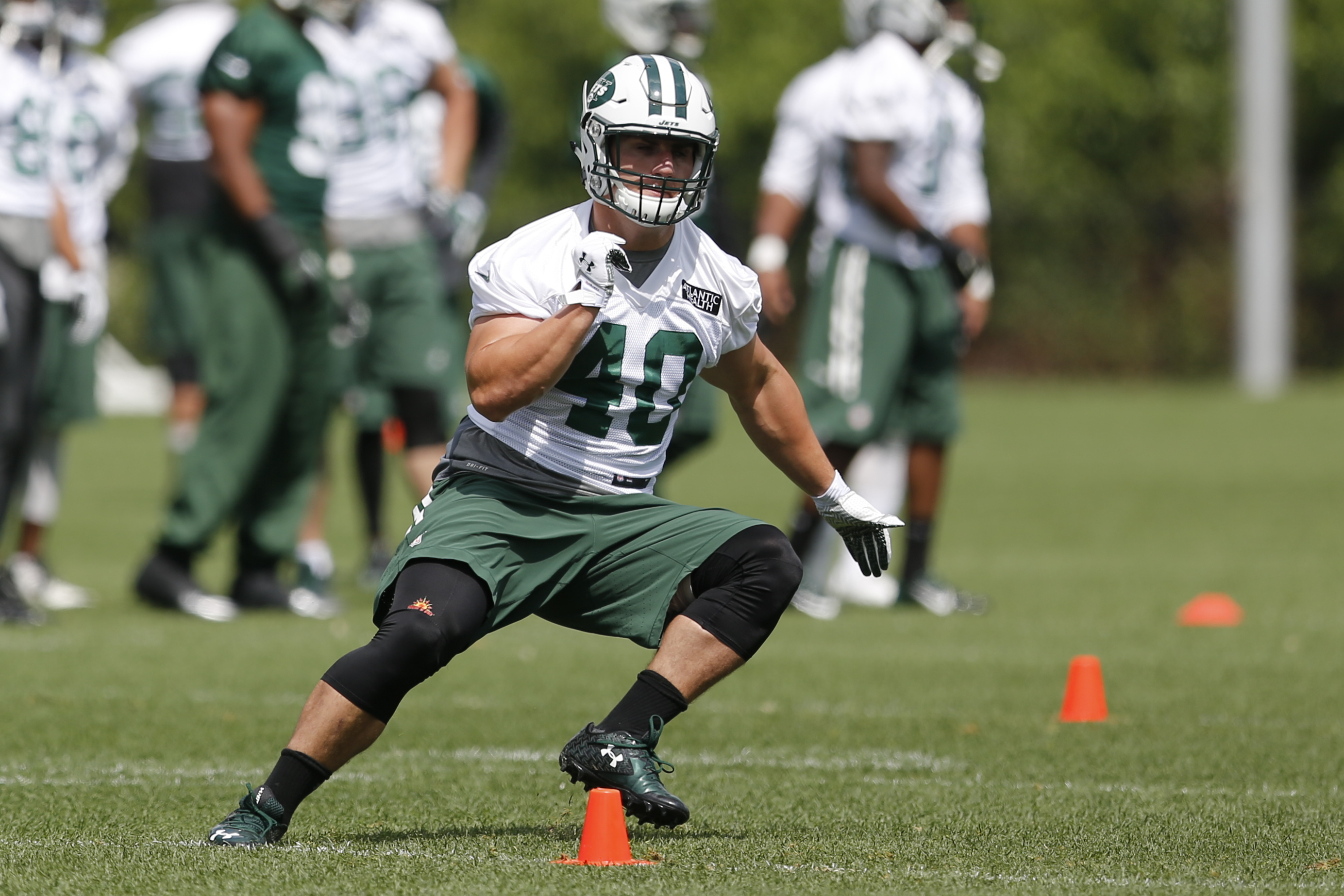 FILE - In this June 3, 2015, file photo, New York Jets fullback Tommy Bohanon runs a route during organized team activities at the team's NFL football training center in Florham Park, N.J. Bohanan was a seventh-round pick out of Wake Forest in 2013 and ha