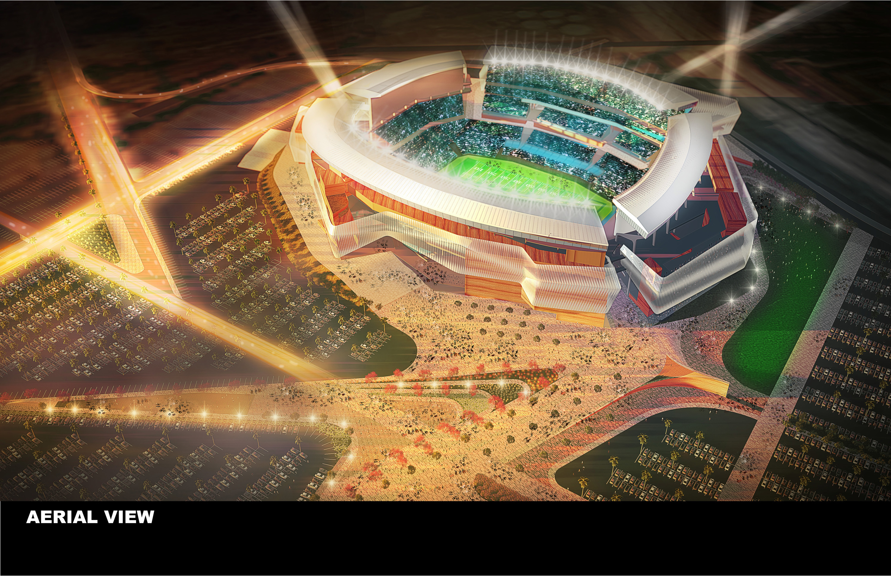 This undated artist rendering provided by the City and County of San Diego and unveiled in San Diego Monday, Aug. 10, 2015, shows a view of a new $1.1 billion stadium proposed for the San Diego Chargers NFL football team. The city and county's updated pla