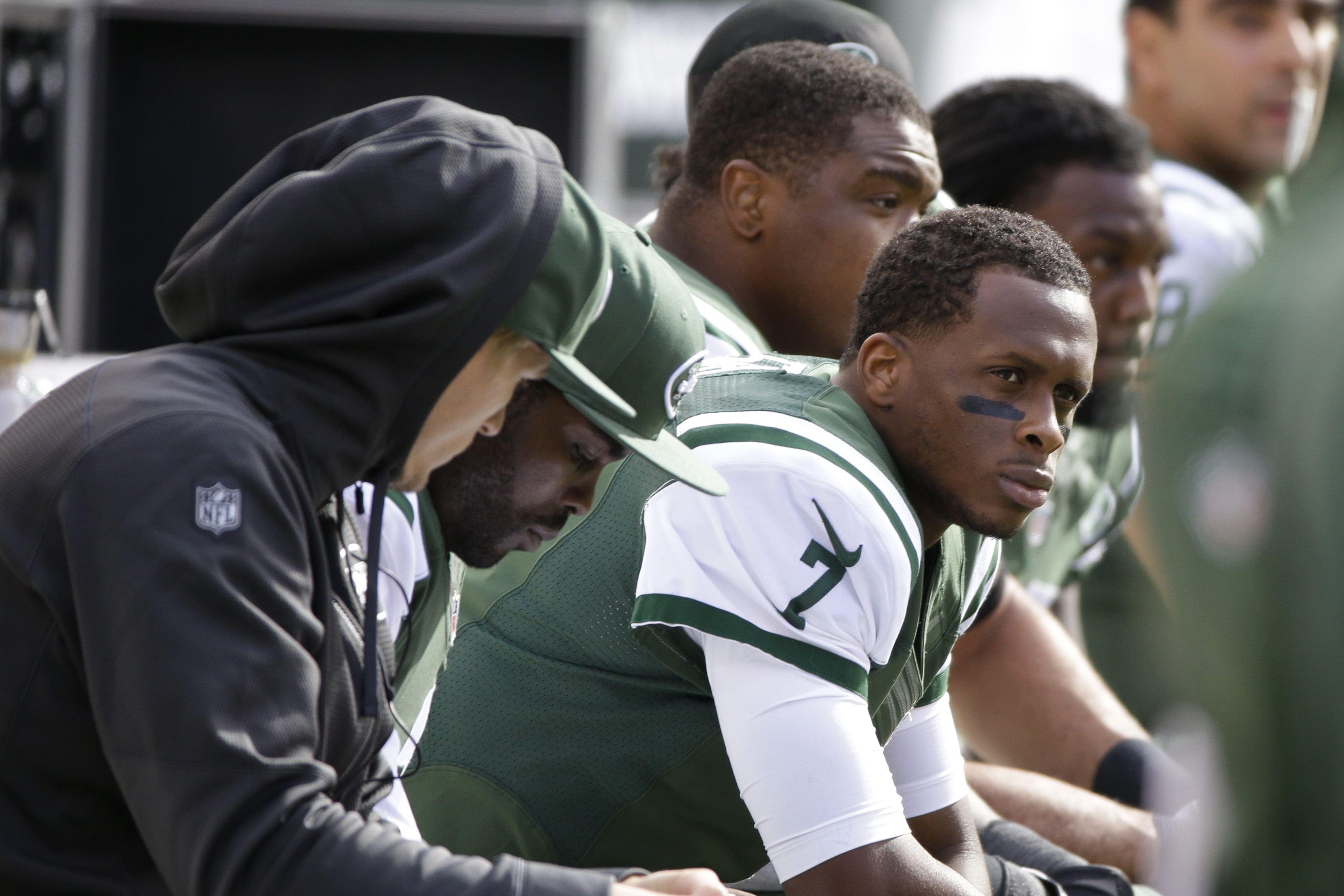 FILE - In this Oct. 26, 2014, file photo, New York Jets quarterback Geno Smith sits on the bench during the first half of an NFL football game against the Buffalo Bills in East Rutherford. Geno Smith's hopes for a breakout season with the New York Jets to