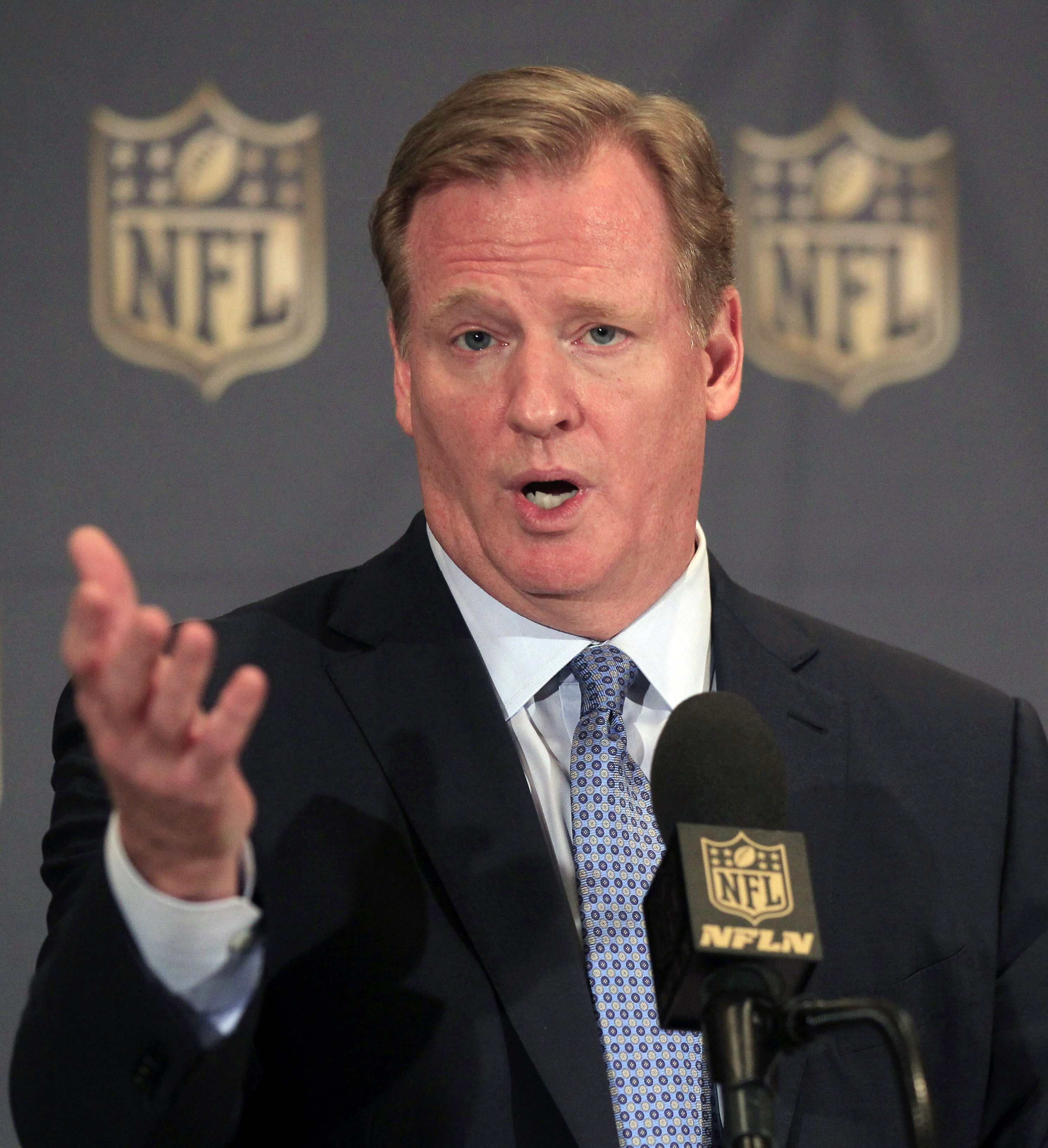 NFL Commissioner Roger Goodell speaks at a news conference at the league's owners meetings at the Hyatt Regency hotel, Tuesday, Aug. 11, 2015, in Schaumburg, Ill. (AP Photo/Christian K. Lee)