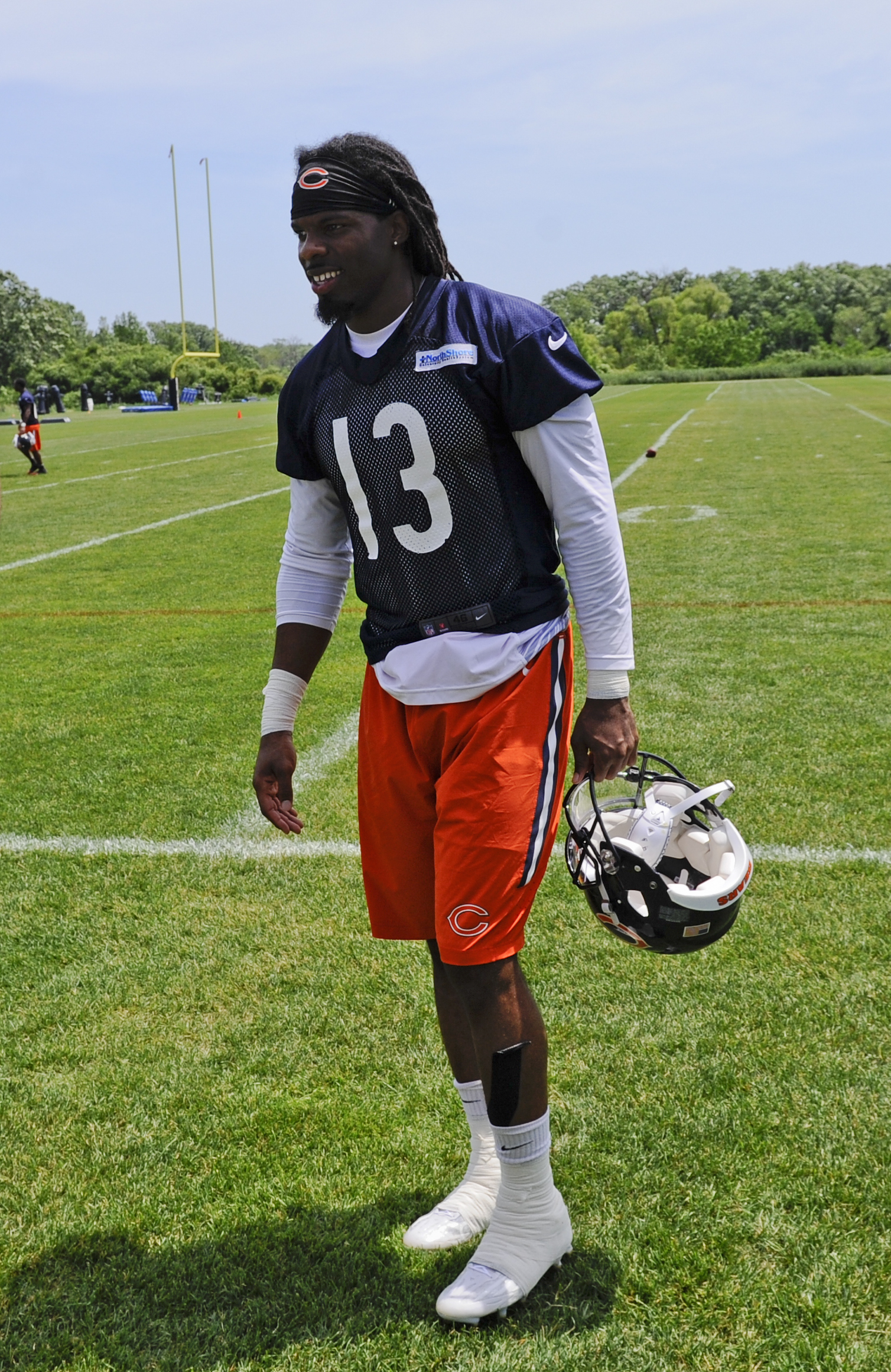 Chicago Bears wide receiver Kevin White after an NFL football organized team activity at Halas Hall, Wednesday, June 10, 2015, in Lake Forest, Ill. (AP Photo/Matt Marton)