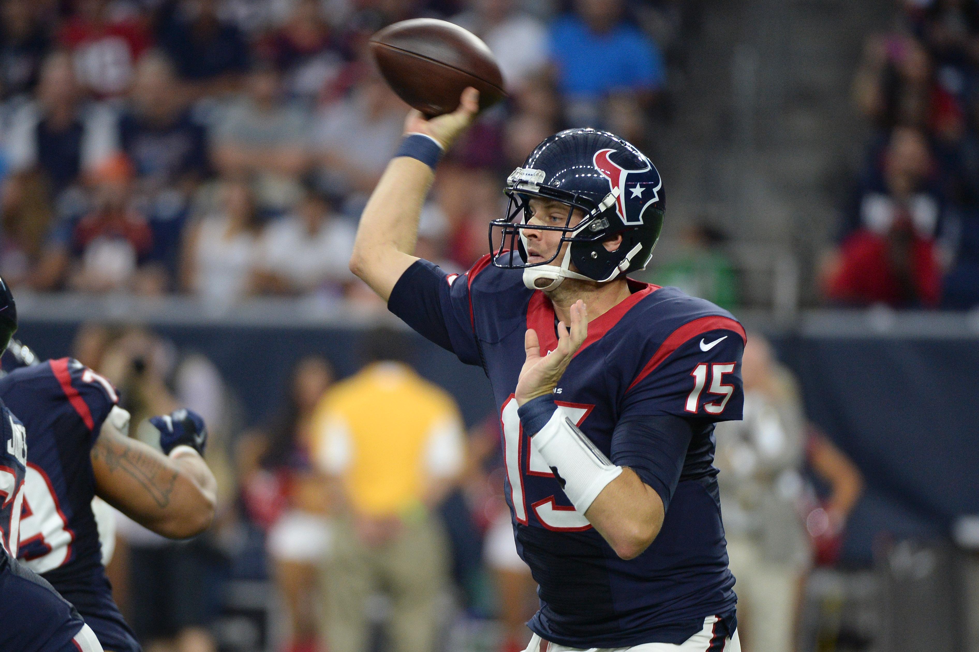 Houston Texans' Ryan Mallett (15) throws against the Denver Broncos during the first half of an NFL preseason football game, Saturday, Aug. 22, 2015, in Houston. (AP Photo/George Bridges)
