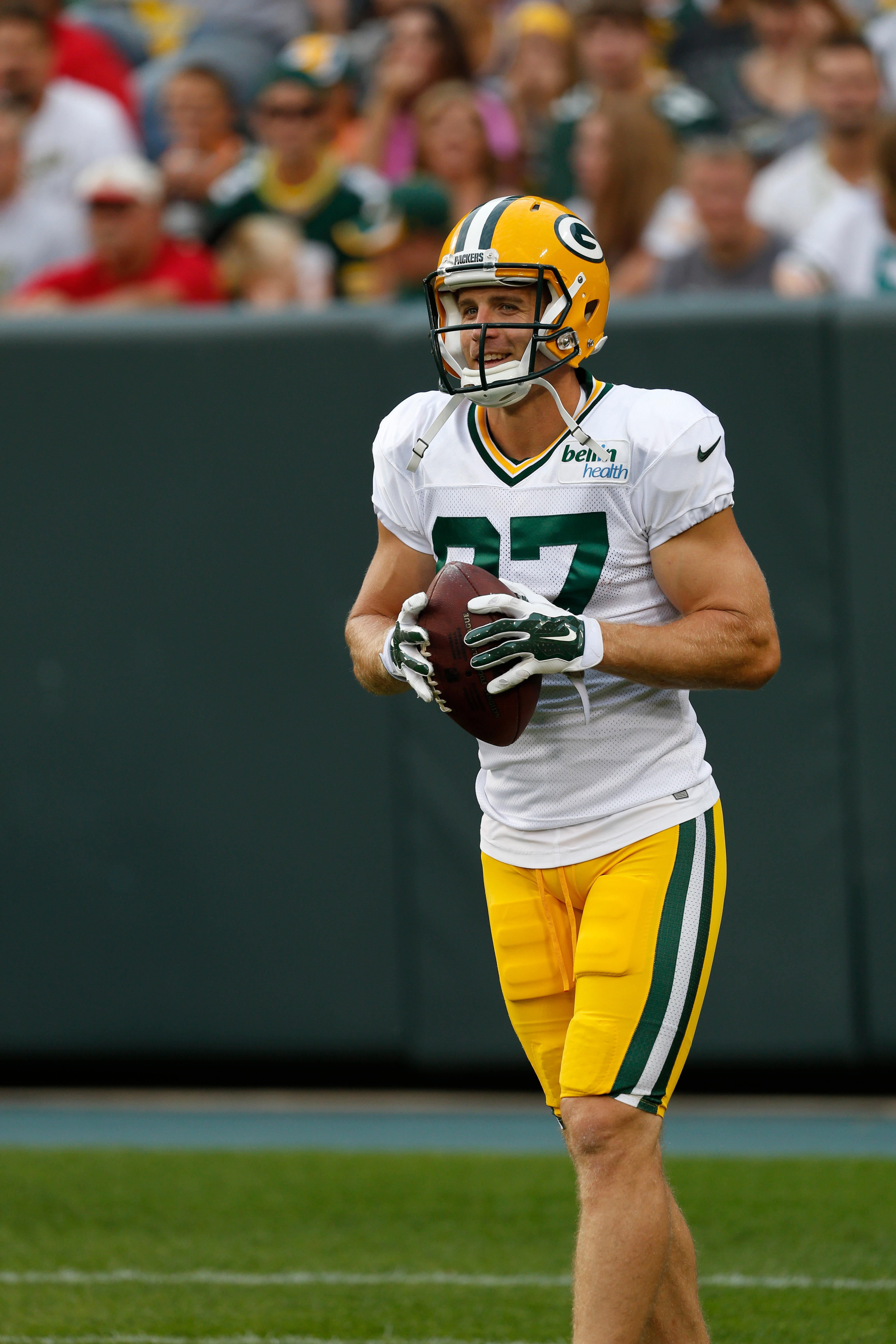 Green Bay Packers' Jordy Nelson during Green Bay Packers Family Fun Night NFL football training camp practice Saturday, Aug. 8 , 2015, in Green Bay, Wis. (AP Photo/Mike Roemer)