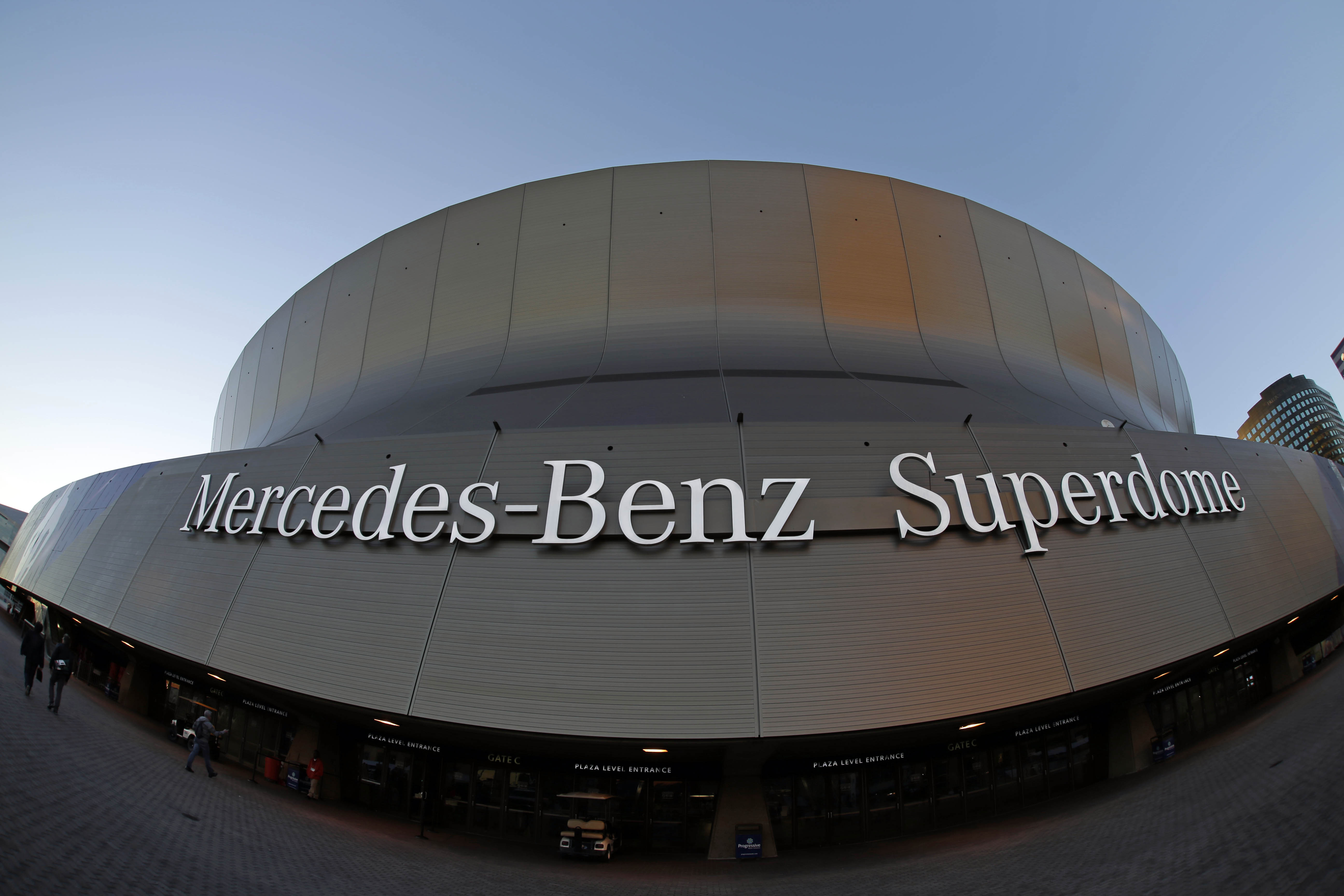 FILE - This is a Feb. 1, 2013, file photo showing the Mercedes-Benz Superdome in New Orleans. The Atlanta Falcons will share a stadium name with their biggest rival. Mercedes-Benz, which already has its name on the New Orleans Superdome, was announced as