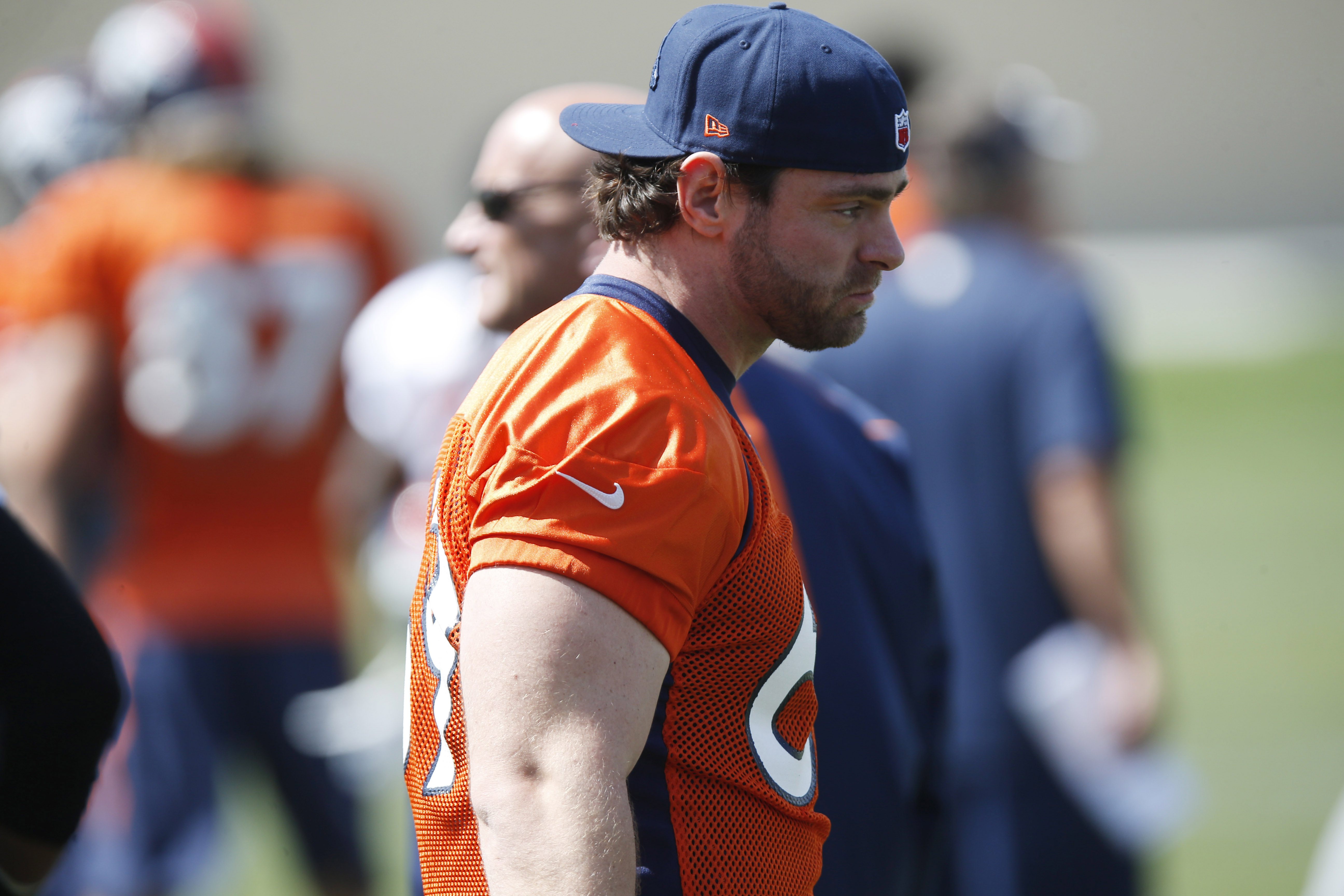 Denver Broncos offensive lineman Evan Mathis looks on during an NFL football scrimmage against the San Francisco 49ers at the Broncos' headquarters Wednesday, Aug. 26, 2015, in Englewood, Colo. (AP Photo/David Zalubowski)