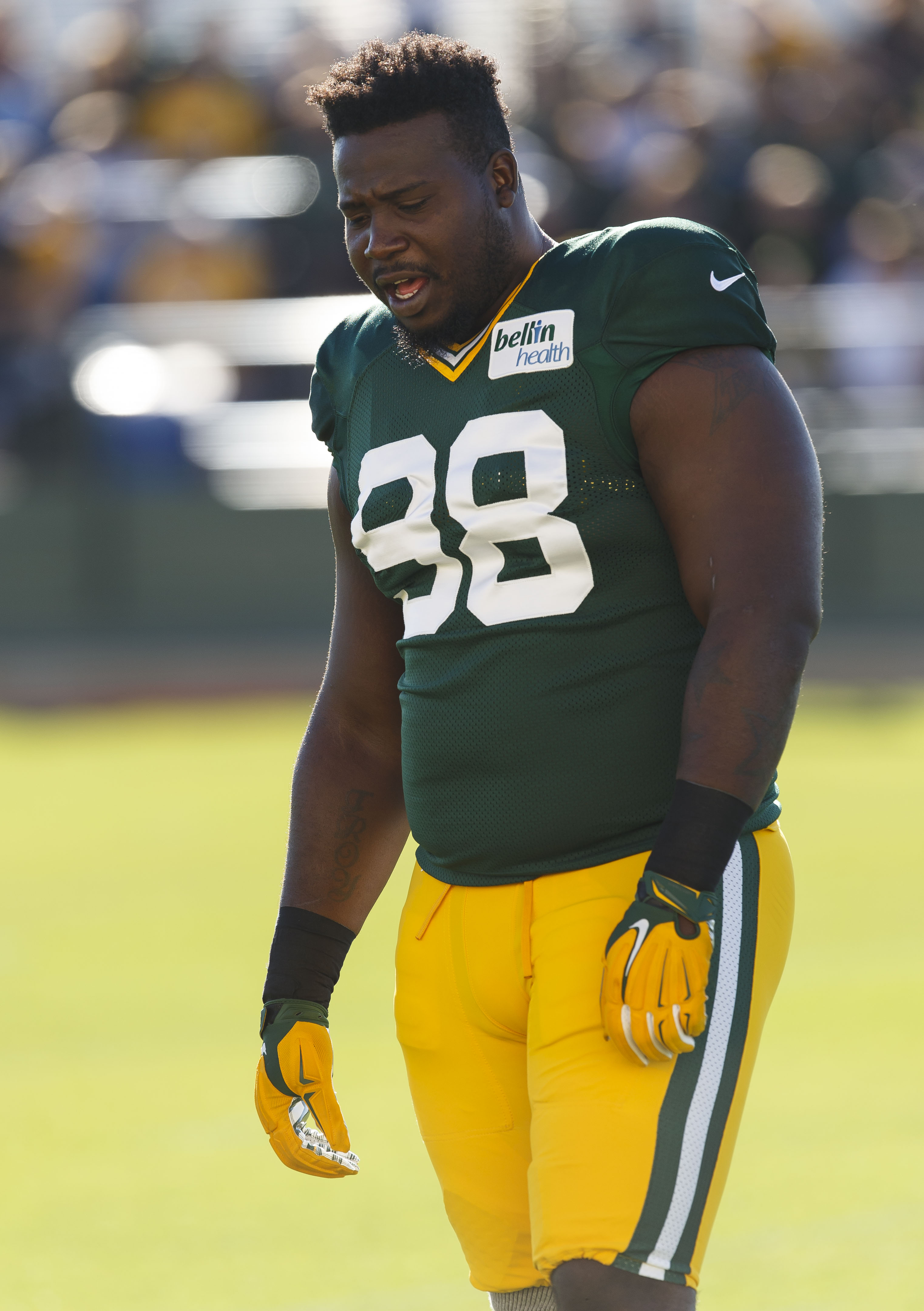 Green Bay Packers' Letroy Guion during NFL football training camp Saturday, Aug. 1 , 2015, in Green Bay, Wis. (AP Photo/Mike Roemer)