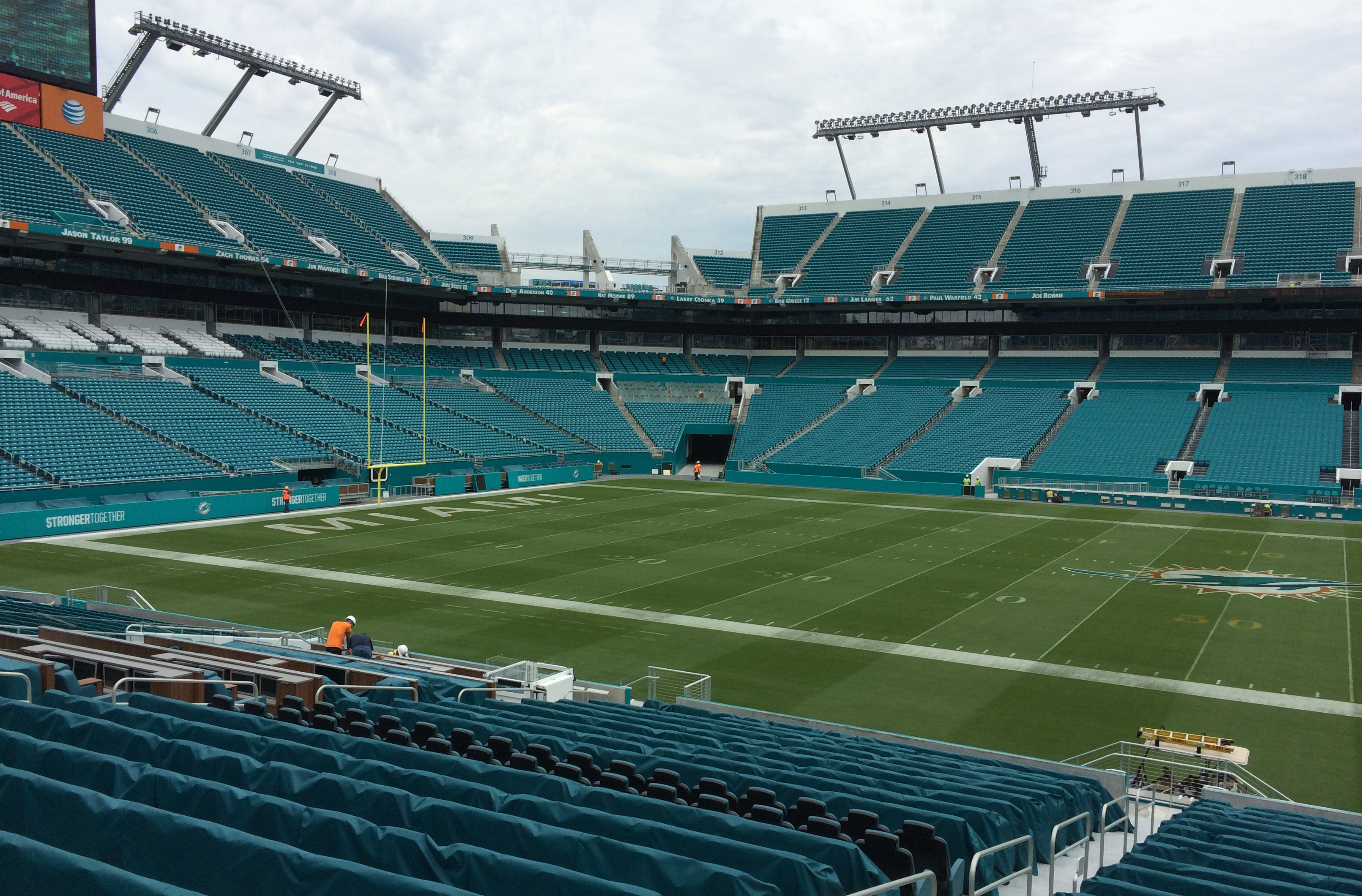 A renovated Sun Life Stadium is viewed Thursday, Sept. 27, 2015, in Miami Gardens, Fla. The Miami Dolphins are to play the Atlanta Falcons on Saturday at the stadium where every seat has been replaced and suites and bathrooms have been redesigned. (AP Pho