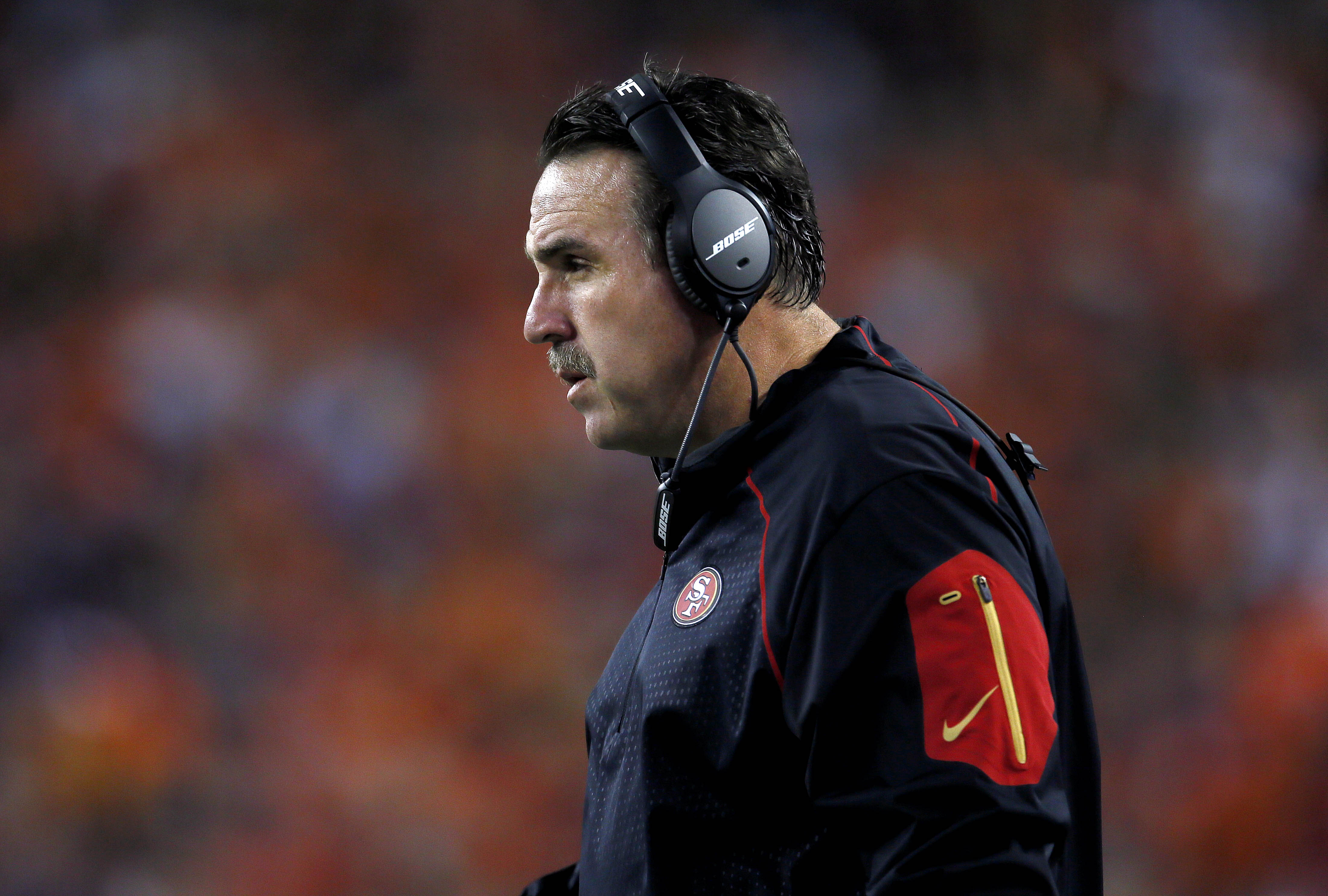 San Francisco 49ers coach Jim Tomsula stands on the sideline during the first half of an NFL preseason football game against the Denver Broncos, Saturday, Aug. 29, 2015, in Denver. (AP Photo/Joe Mahoney)