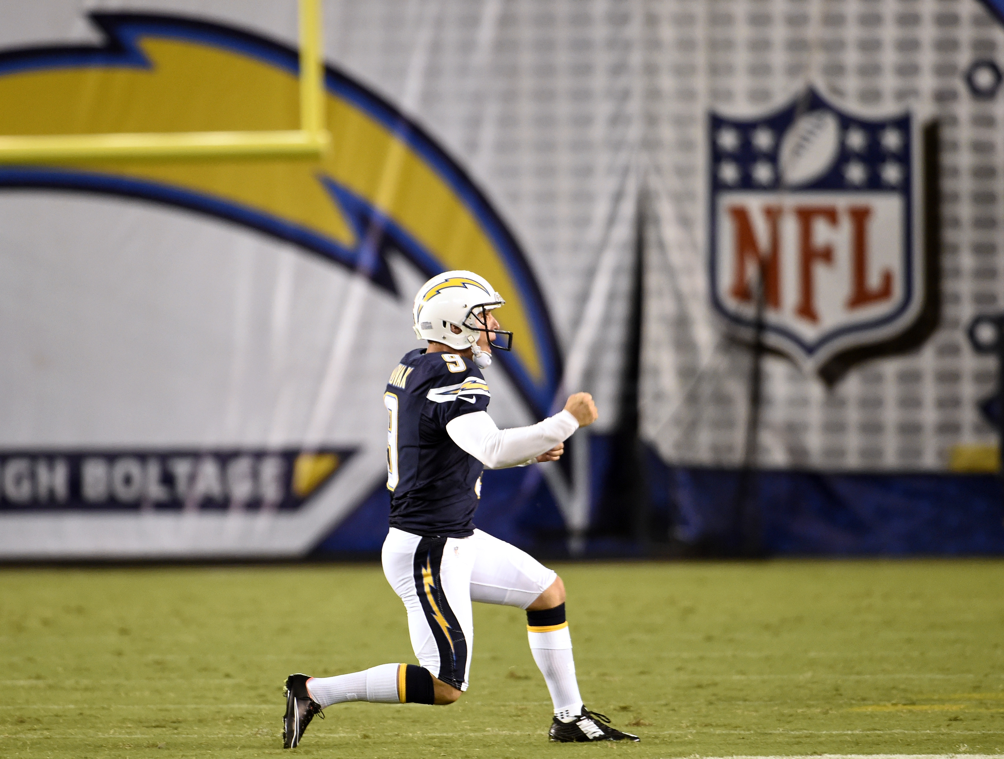 San Diego Chargers kicker Nick Novak celebrates after a field goal during the second half of a preseason NFL football game against the Seattle Seahawks, Saturday, Aug. 29, 2015, in San Diego. (AP Photo/Denis Poroy)