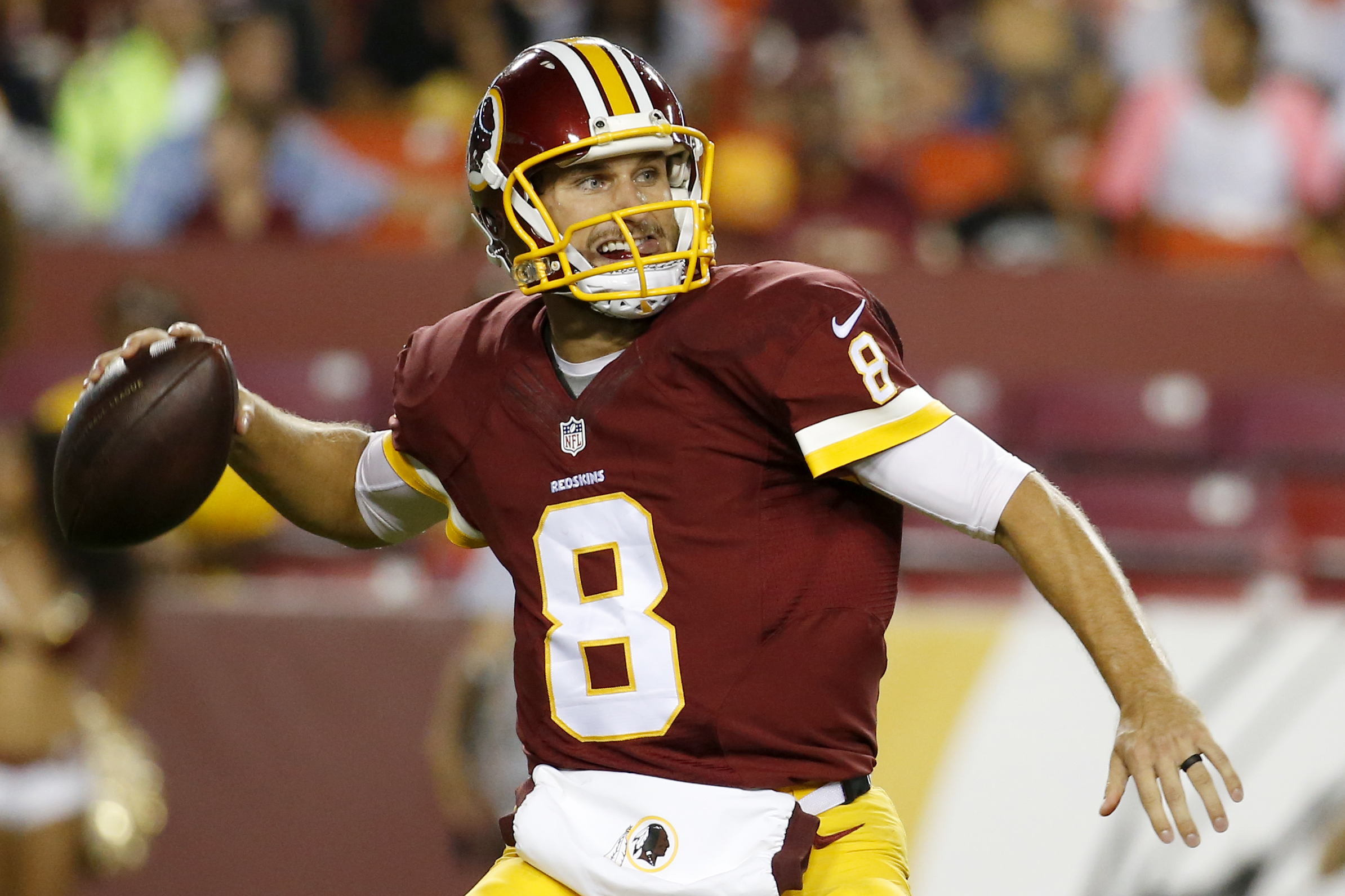 FILE - In this Aug. 20, 2015, file photo, Washington Redskins quarterback Kirk Cousins (8) passes the ball during the second half of an NFL preseason football game against the Detroit Lions in Landover, Md. The Washington Redskins have made a quarterback