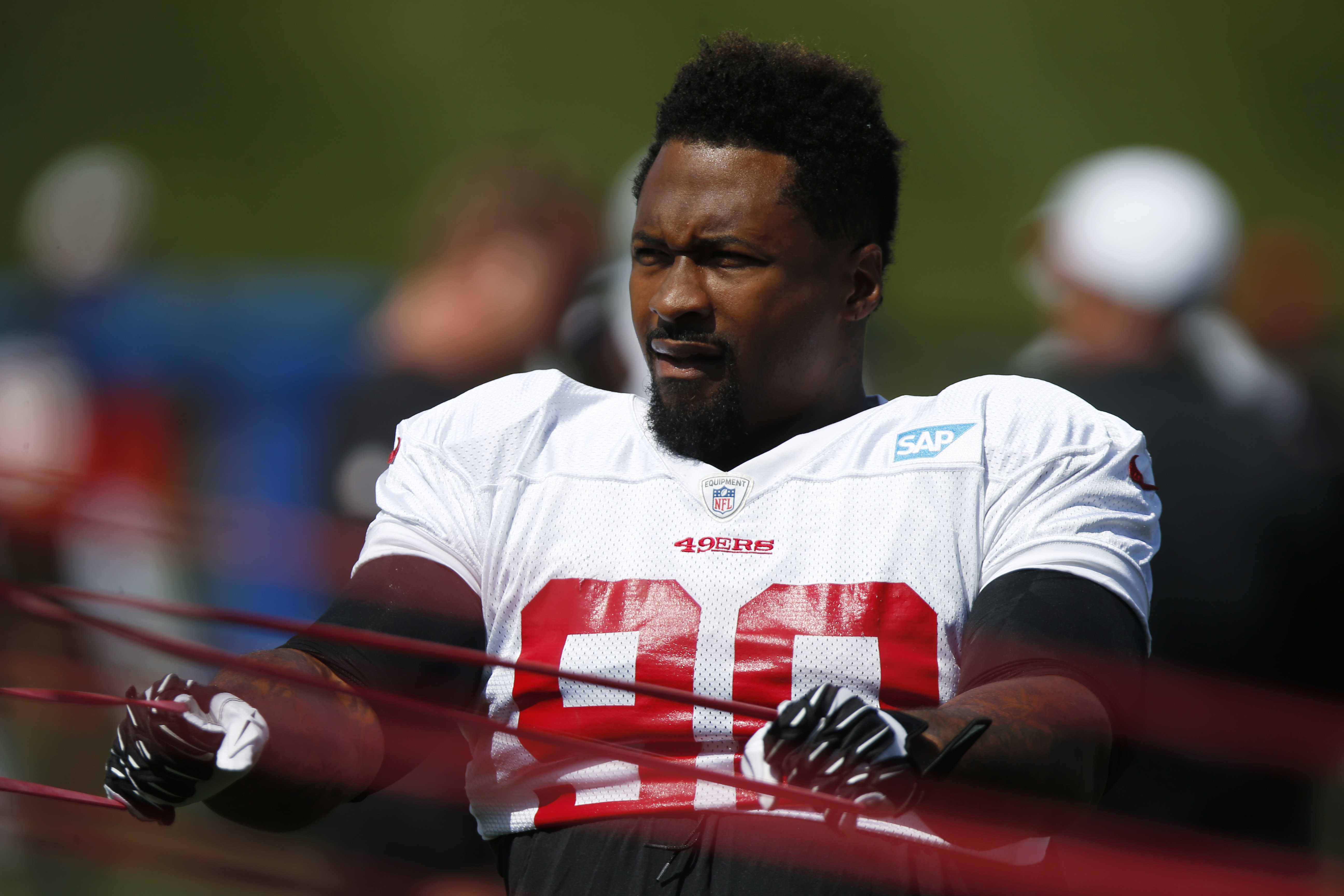 San Francisco 49ers defensive tackle Darnell Dockett (90) during an NFL football scrimmage at the Broncos' headquarters Wednesday, Aug. 26, 2015, in Englewood, Colo. (AP Photo/David Zalubowski)