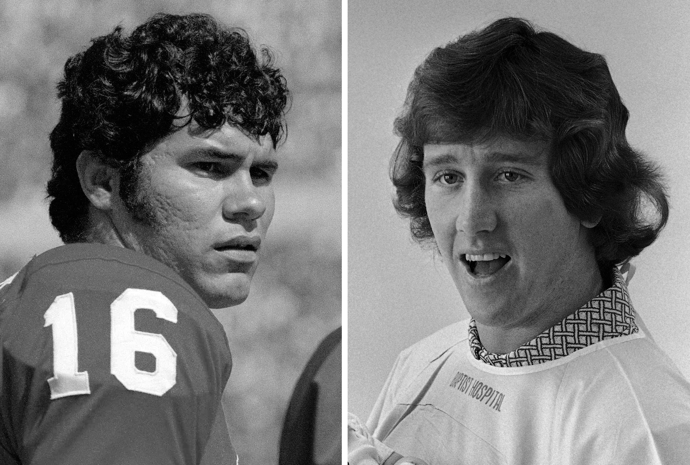FILE - At left, in a Nov. 1971 file photo, New England Patriots quarterback Jim Plunkett is shown. At right, in a March 7, 1974, file photo, New Orleans Saints quarterback Archie Manning is shown. Plunkett and Manning were drafted back-to-back as No. 1 an