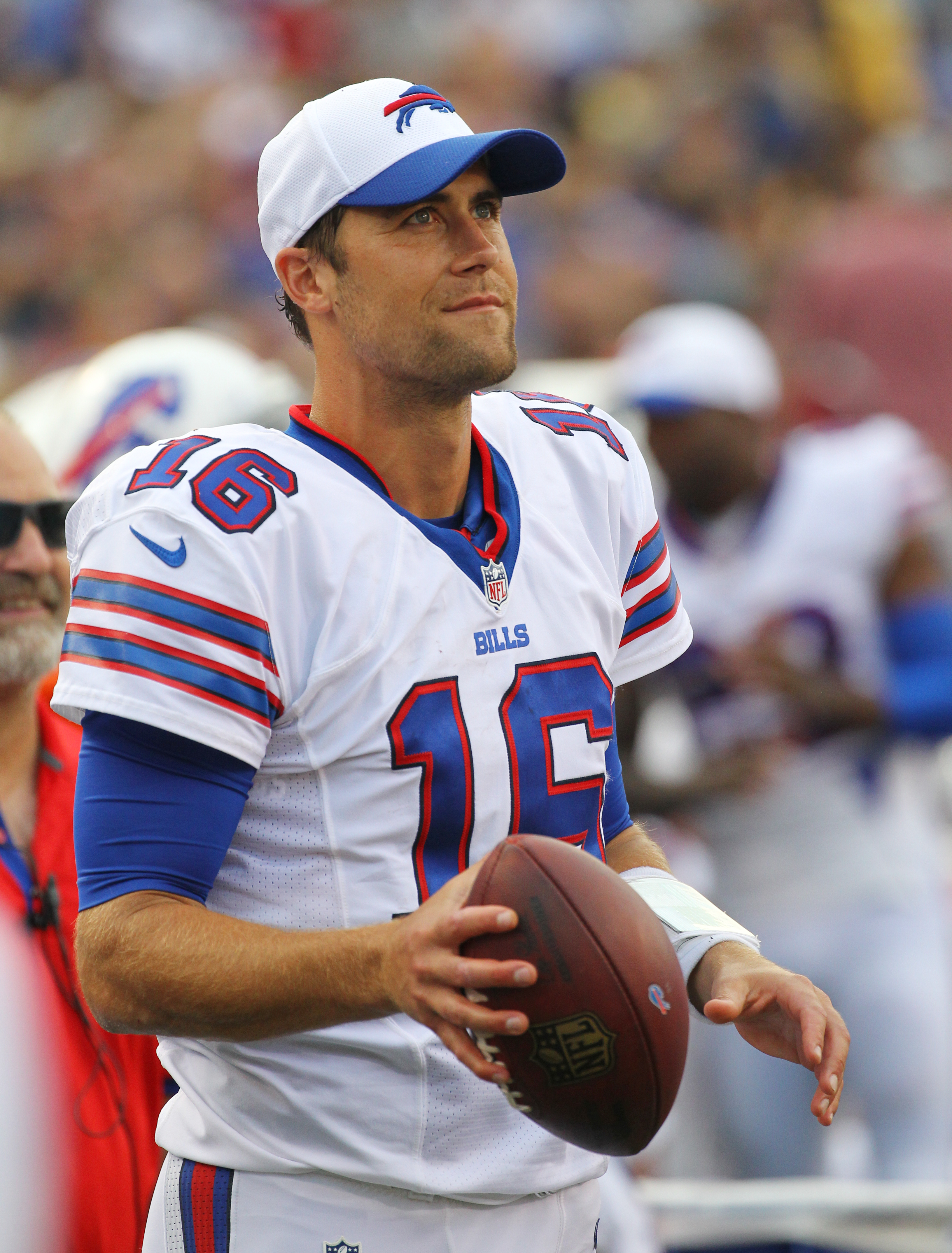 Buffalo Bills quarterback Matt Cassell watches from the sidelines during the second half of a preseason NFL football game against the Pittsburgh Steelers on Saturday, Aug. 29, 2015, in Orchard Park, N.Y. (AP Photo/Bill Wippert)
