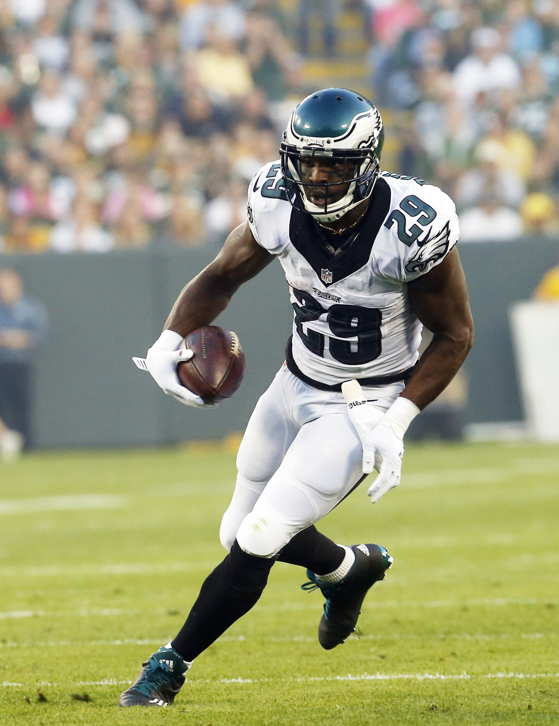 FILE - In this Aug. 29, 2015, file photo, Philadelphia Eagles' DeMarco Murray runs during the first half of an NFL football game against the Green Bay Packers in Green Bay, Wis. Murray's critics say his All-Pro season was a fluke, a result of playing behi