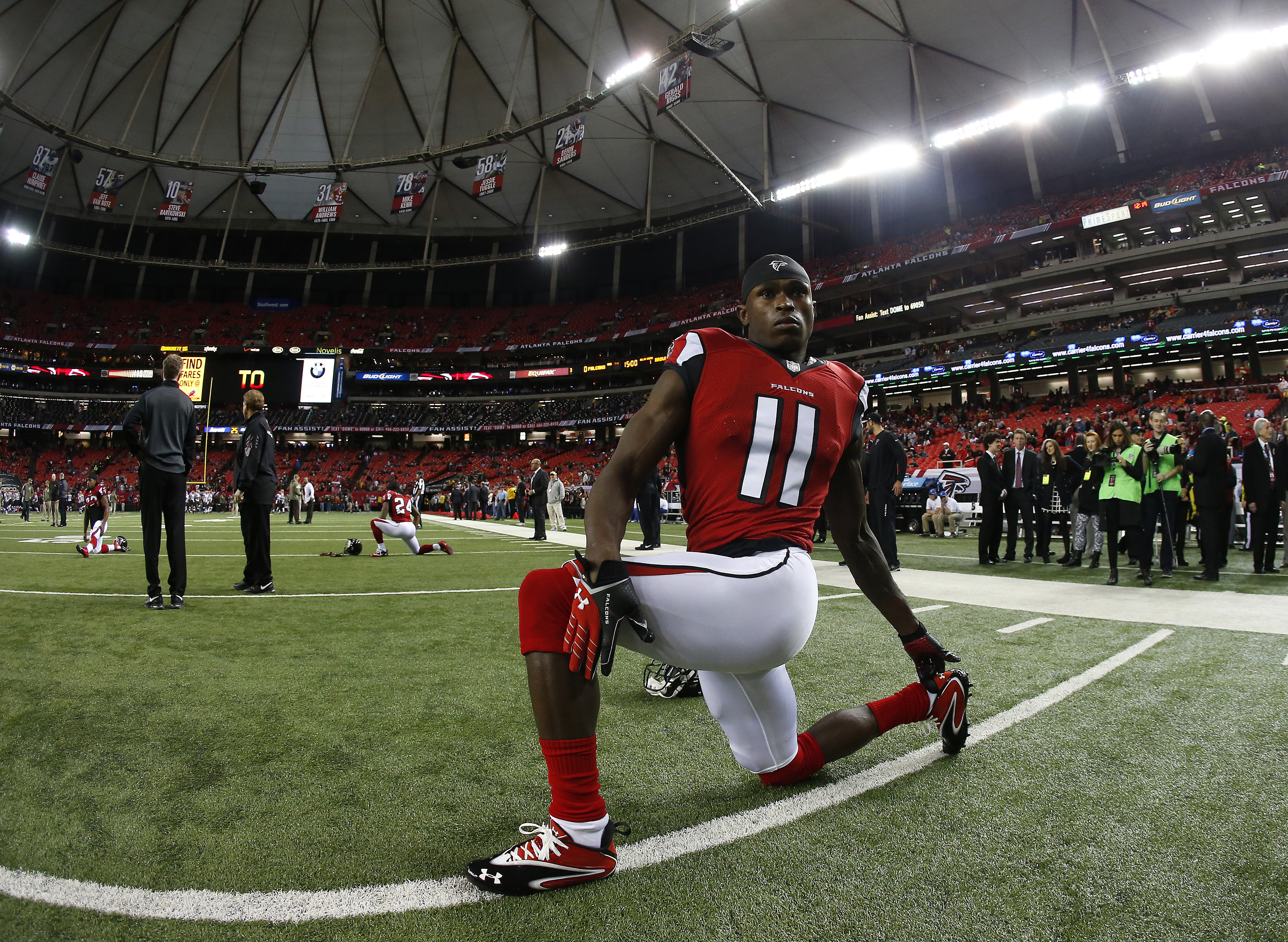 FILE - In this Nov. 23, 2014, file photo, Atlanta Falcons wide receiver Julio Jones (11) warms up before an NFL football game against the Cleveland Browns in Atlanta. Jones isn't sure how the Philadelphia Eagles will try to defend him in the season opener