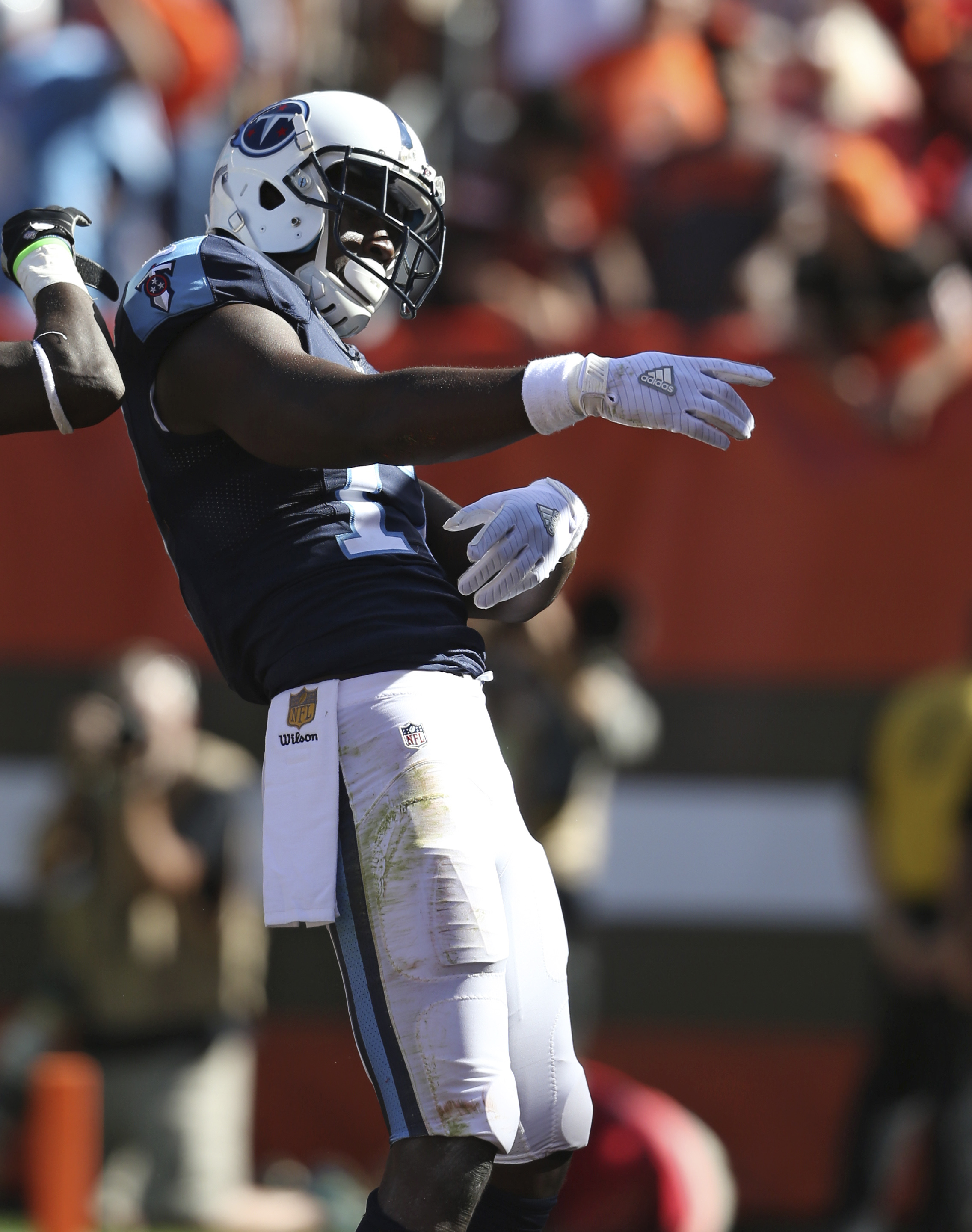 Tennessee Titans wide receiver Dorial Green-Beckham celebrates after a 17-yard touchdown pass in the second half of an NFL football game against the Cleveland Browns, Sunday, Sept. 20, 2015, in Cleveland. (AP Photo/Ron Schwane)