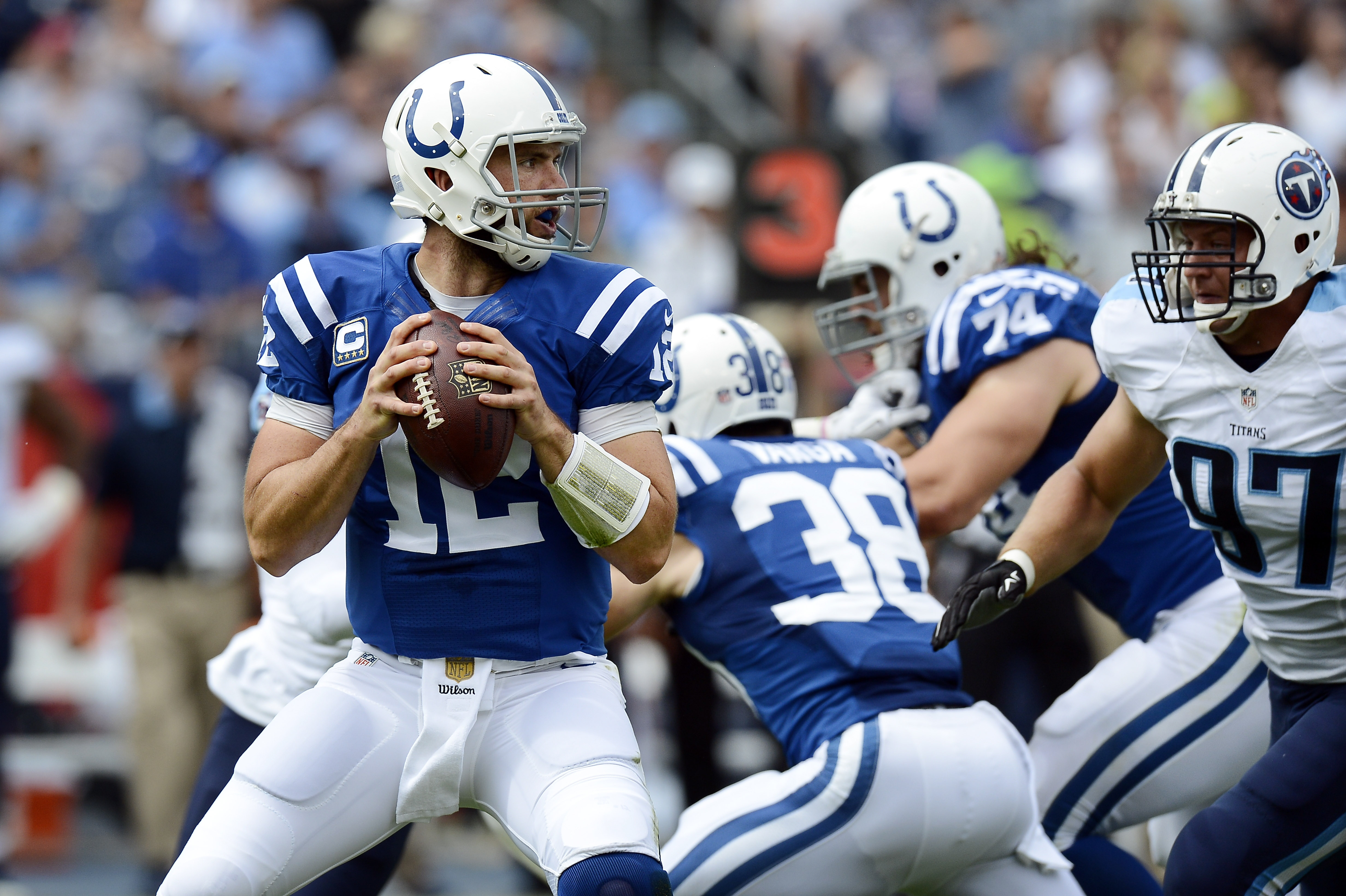 Indianapolis Colts quarterback Andrew Luck (12) passes against the Tennessee Titans in the first half of an NFL football game Sunday, Sept. 27, 2015, in Nashville, Tenn. (AP Photo/Mark Zaleski)